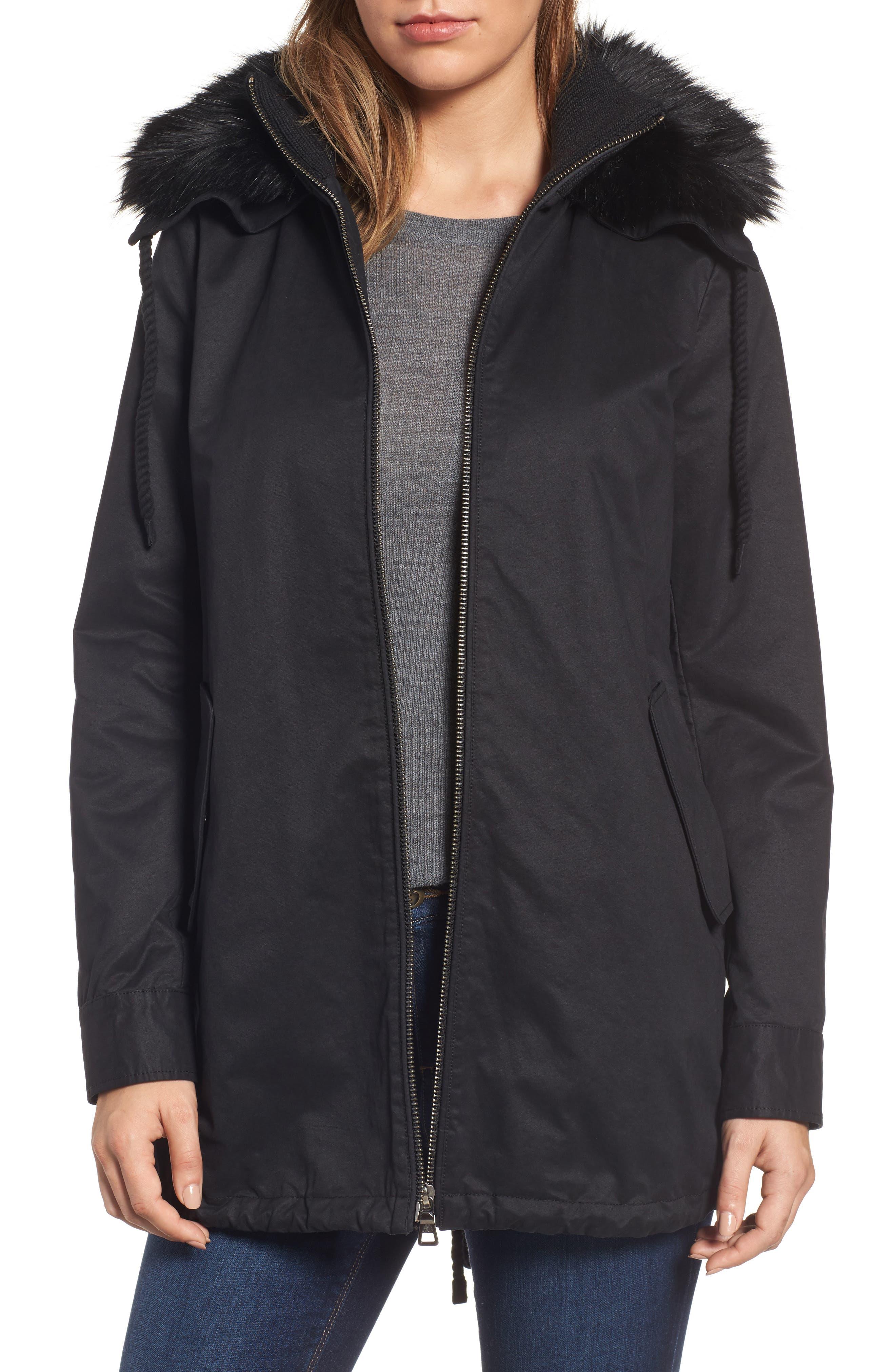 Sam Edelman Faux Fur Collar A-Line Anorak (Regular & Petite)