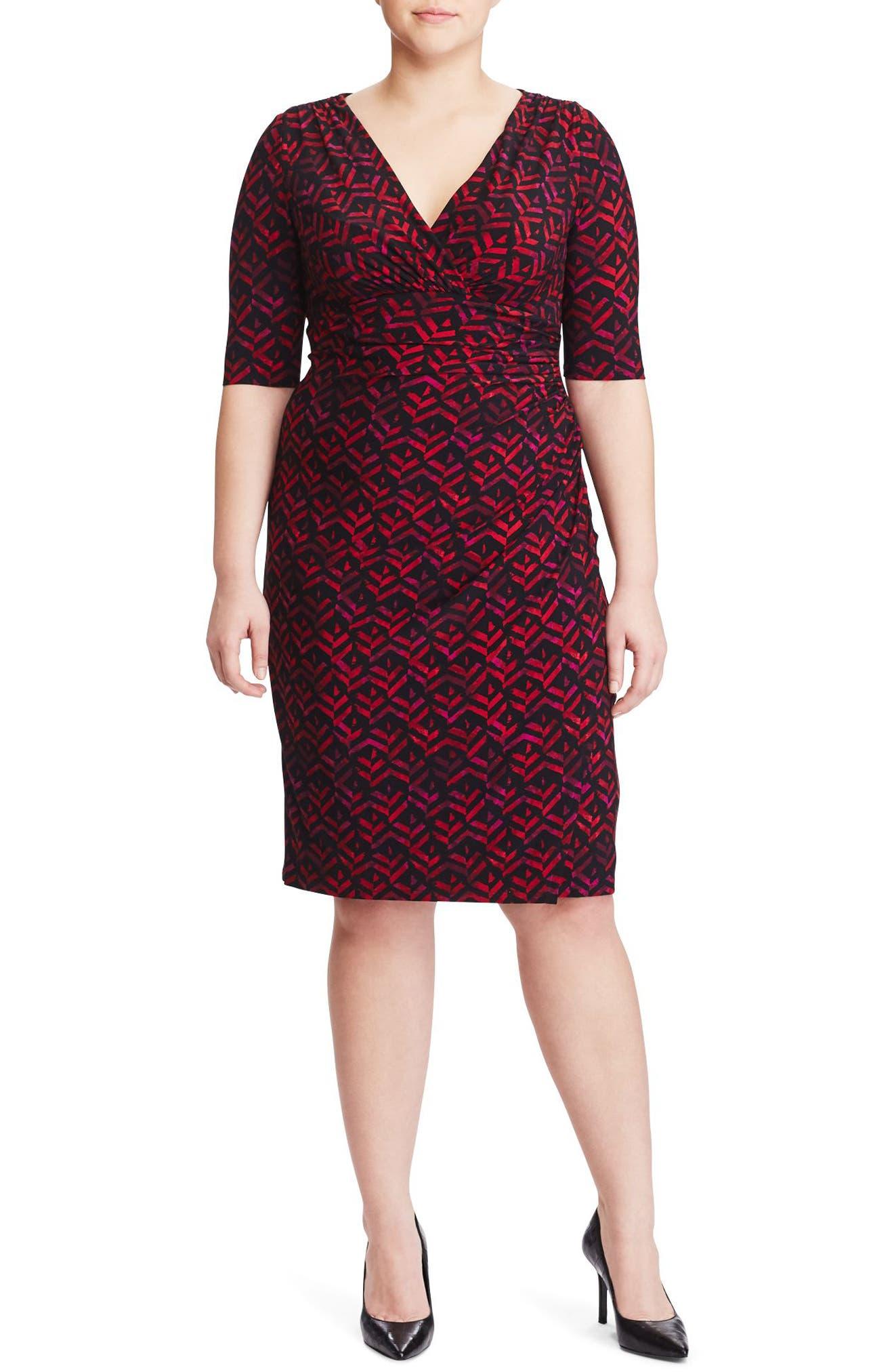 Lauren Ralph Lauren Faux Wrap Print Sheath Dress (Plus Size)