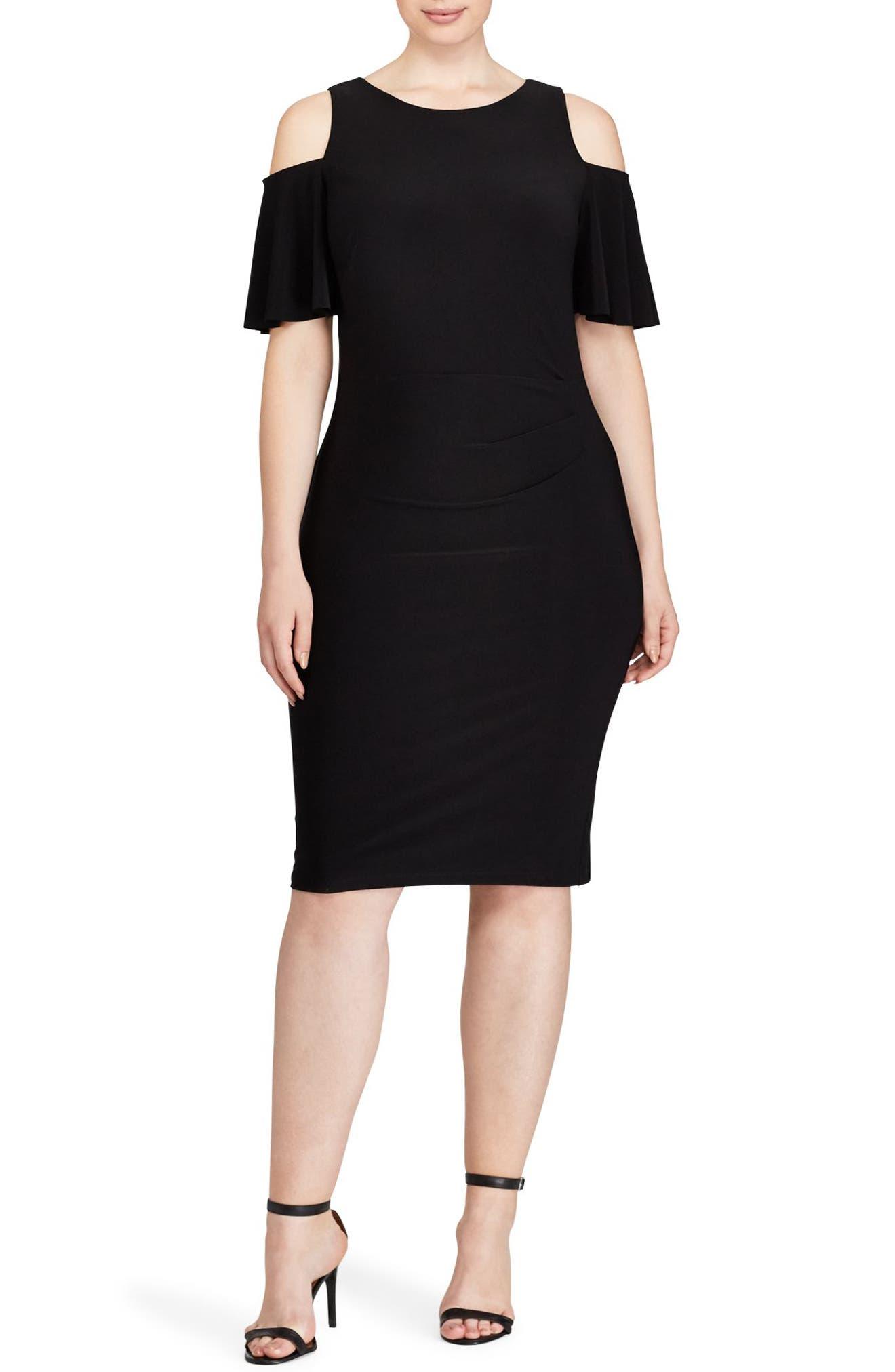 Cold Shoulder Sheath Dress,                             Main thumbnail 1, color,                             Black