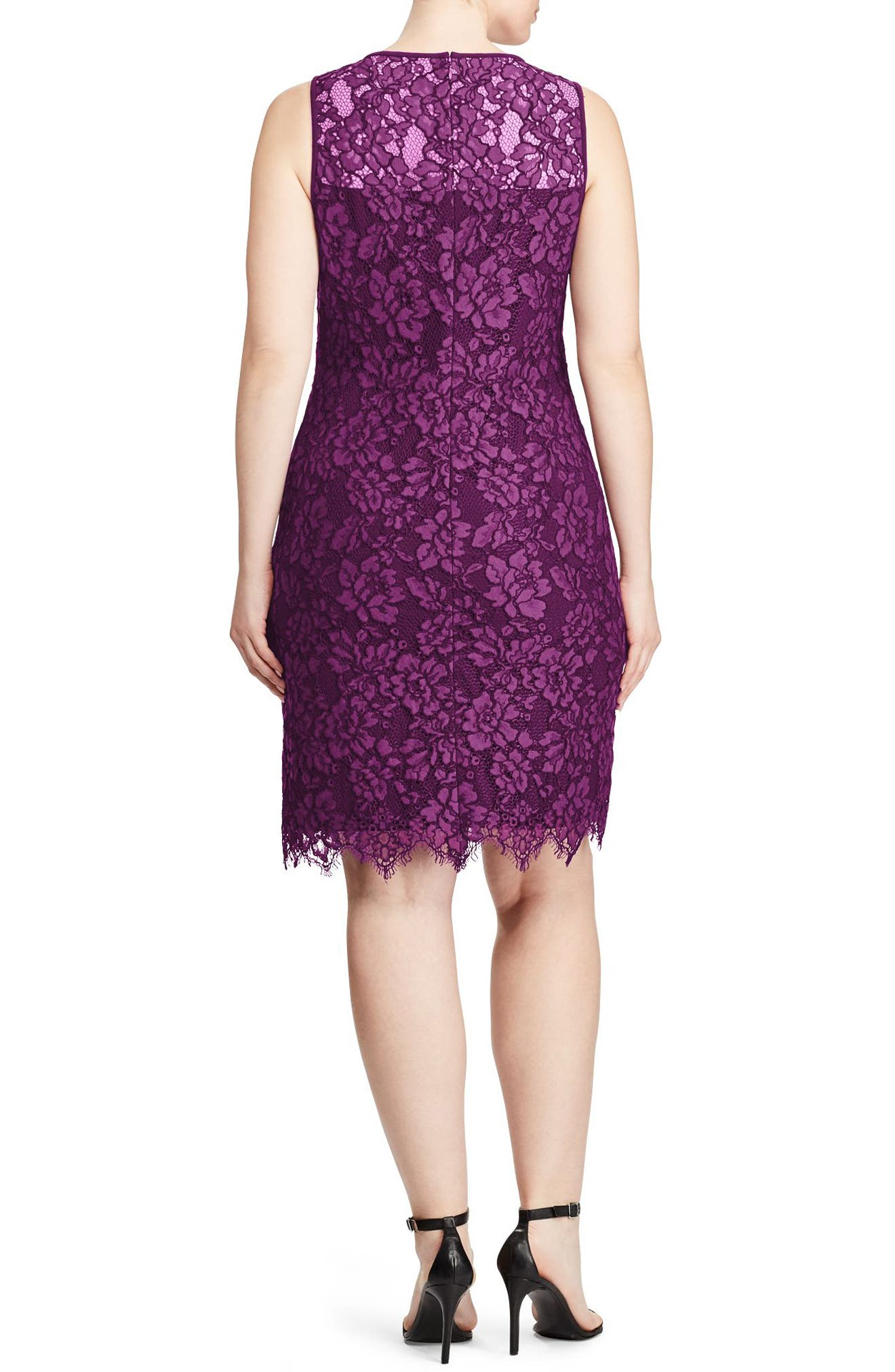 Corded Lace Sheath Dress,                             Alternate thumbnail 2, color,                             Plum-Wheat