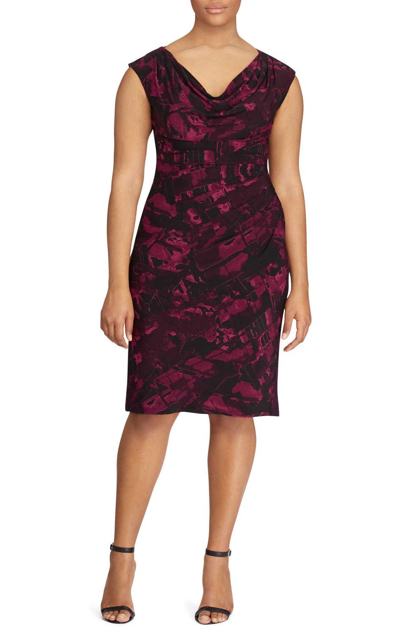 Laruen Ralph Lauren Abstract Print Sheath Dress (Plus Size)