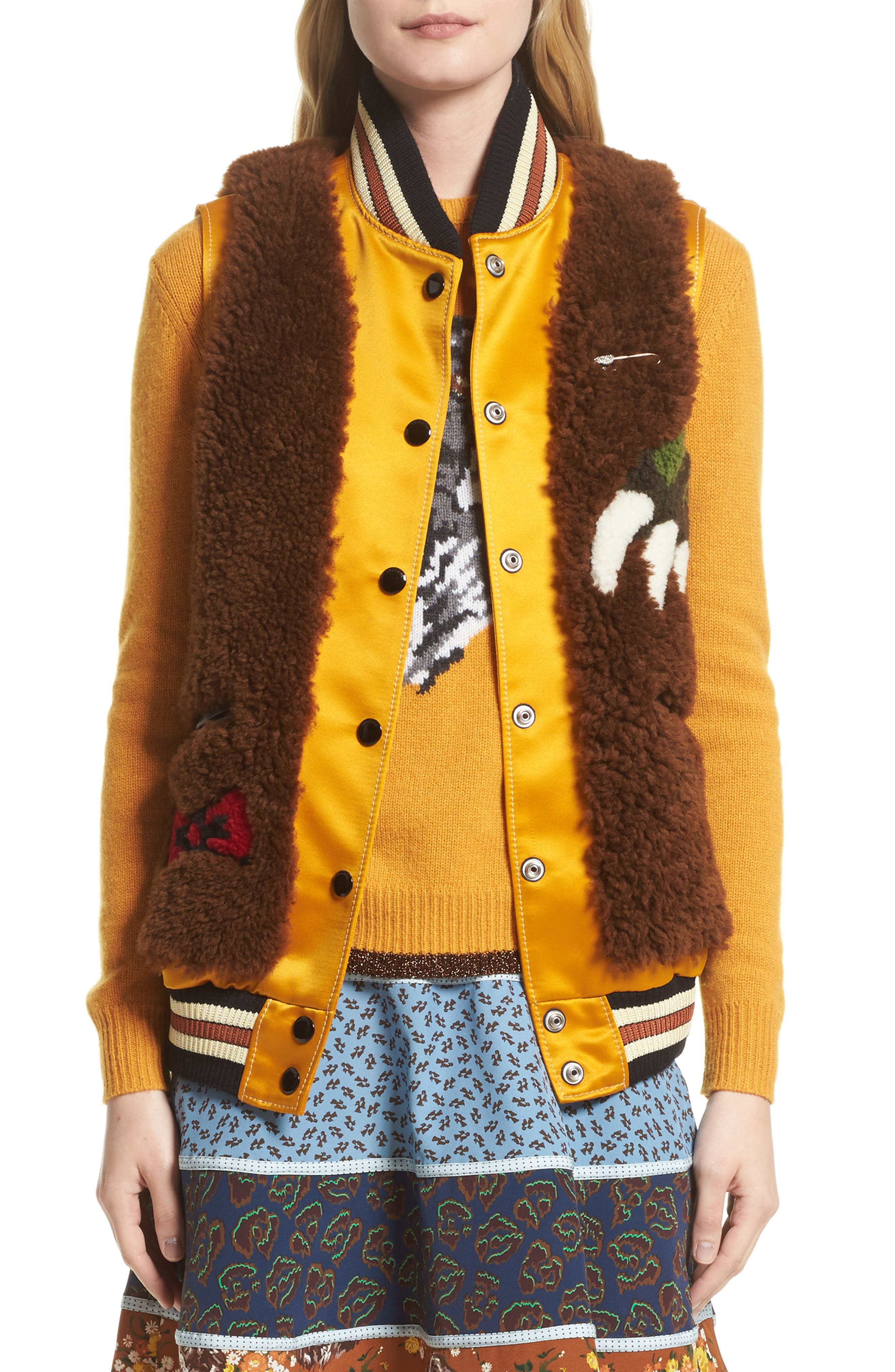 Rexy Intarsia Genuine Shearling Vest,                         Main,                         color, Orange