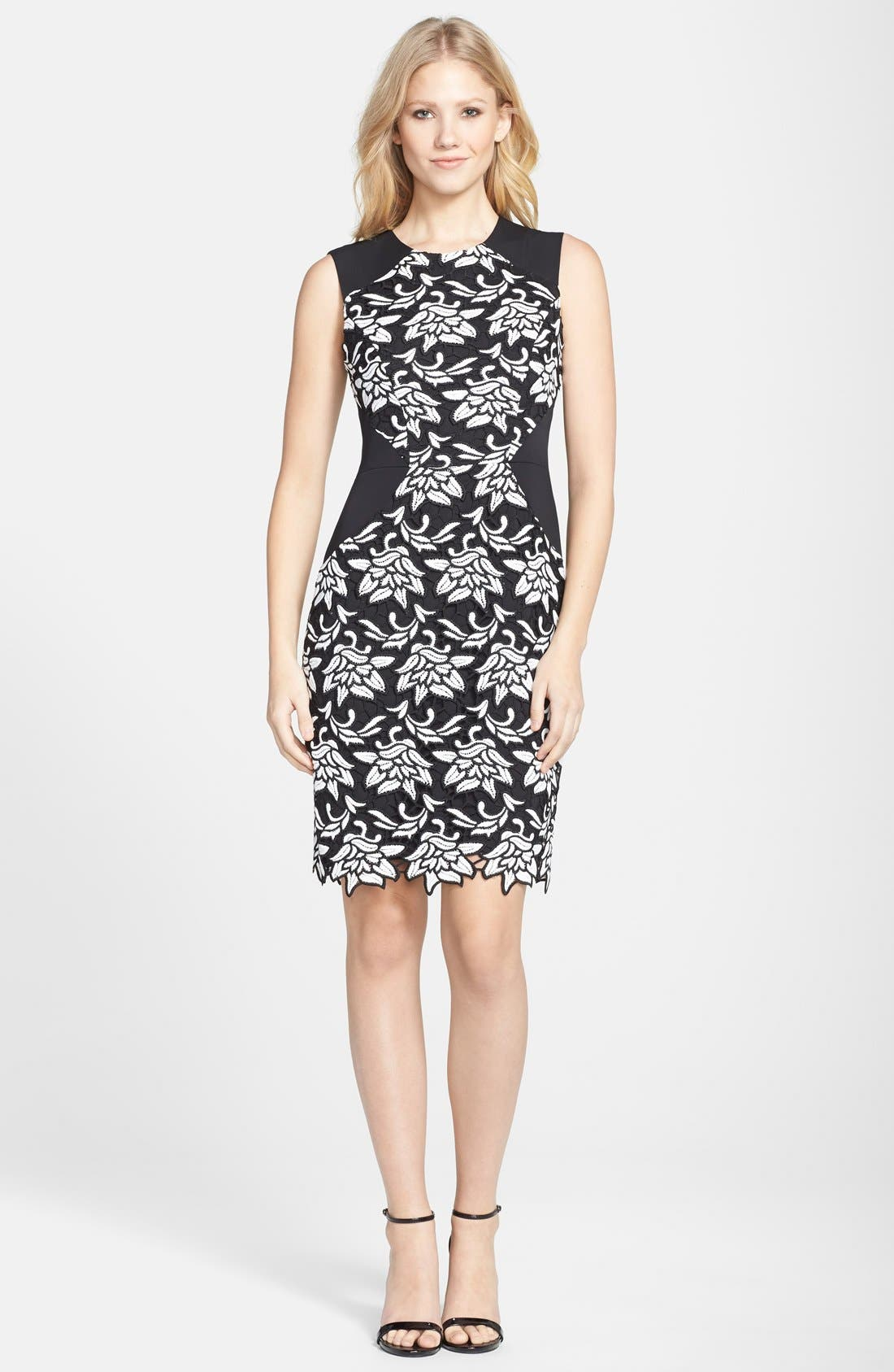 'Laurine' Floral Lace Overlay Sheath Dress,                             Alternate thumbnail 3, color,                             Black White