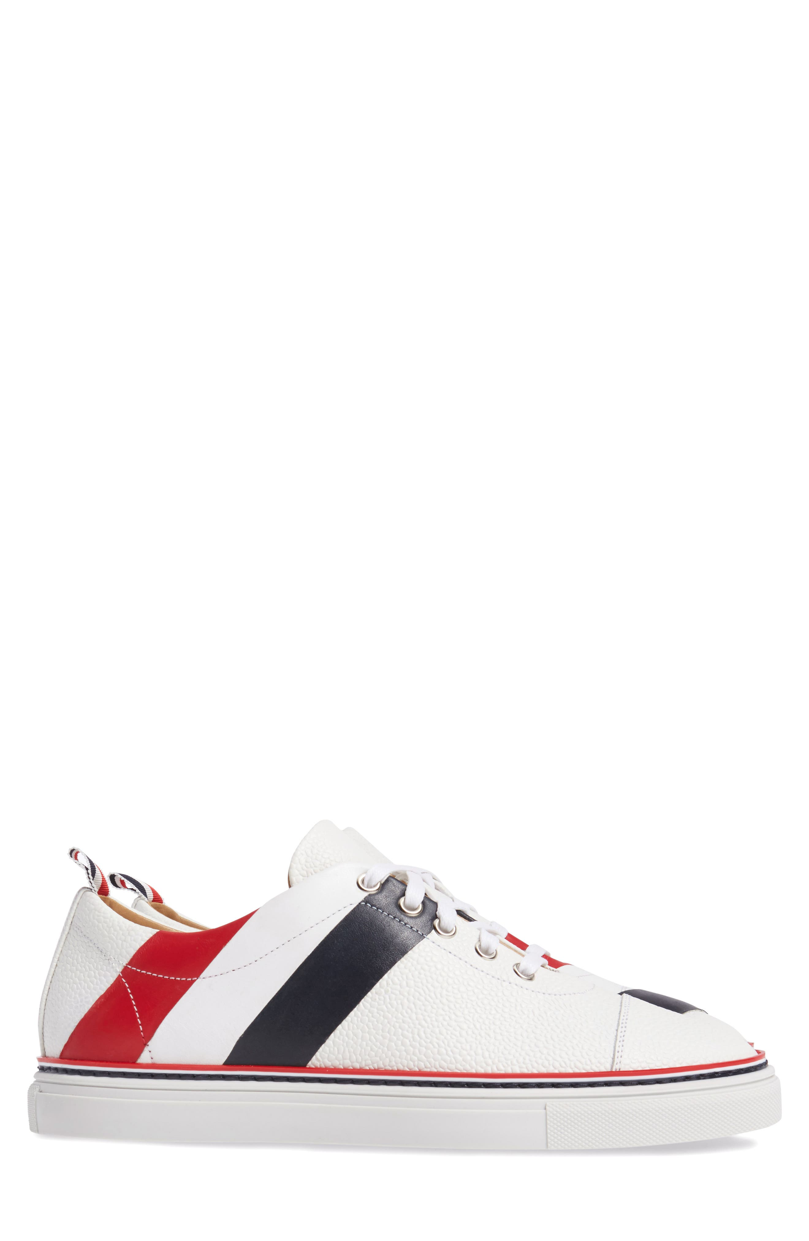 Asymmetrical Stripe Sneaker,                             Alternate thumbnail 3, color,                             100 White