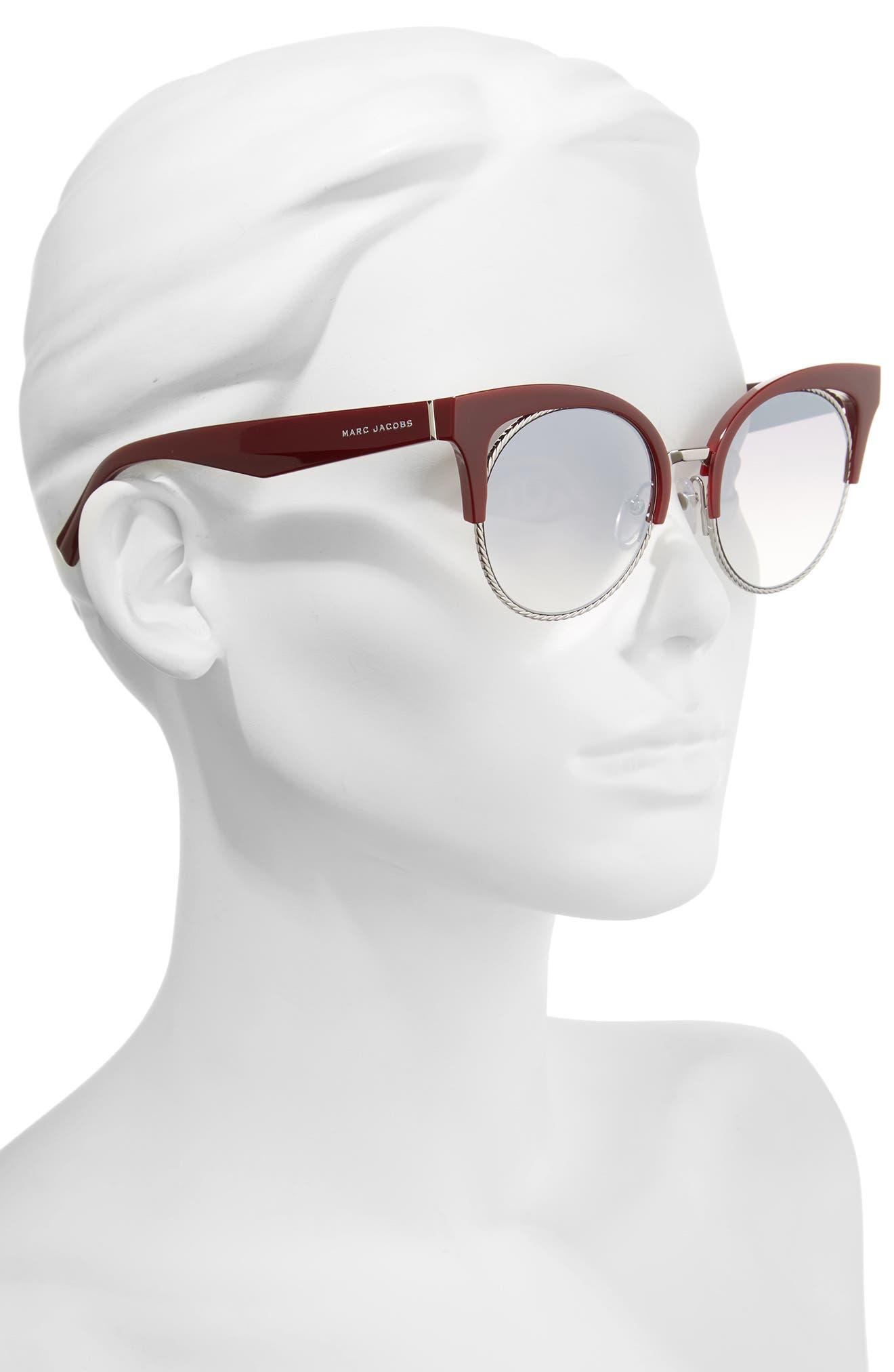 51mm Gradient Lens Cat Eye Sunglasses,                             Alternate thumbnail 2, color,                             Opal/ Burgundy