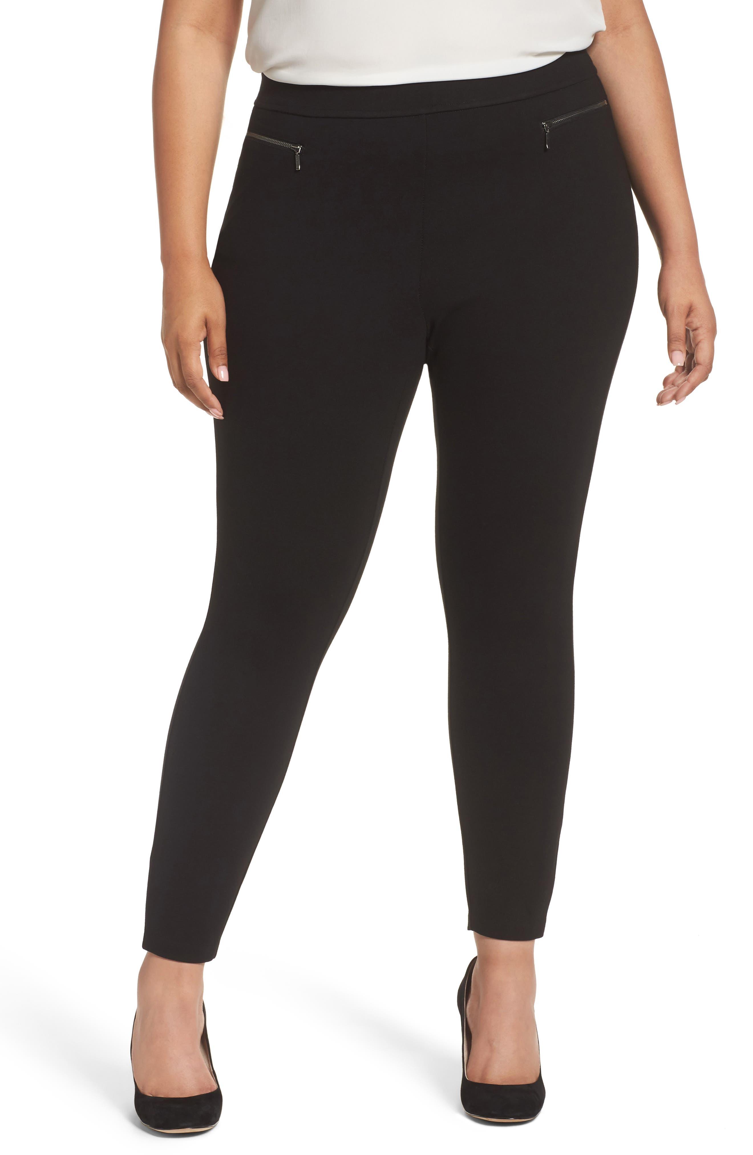 Zip Pocket Ankle Leggings,                         Main,                         color, Black