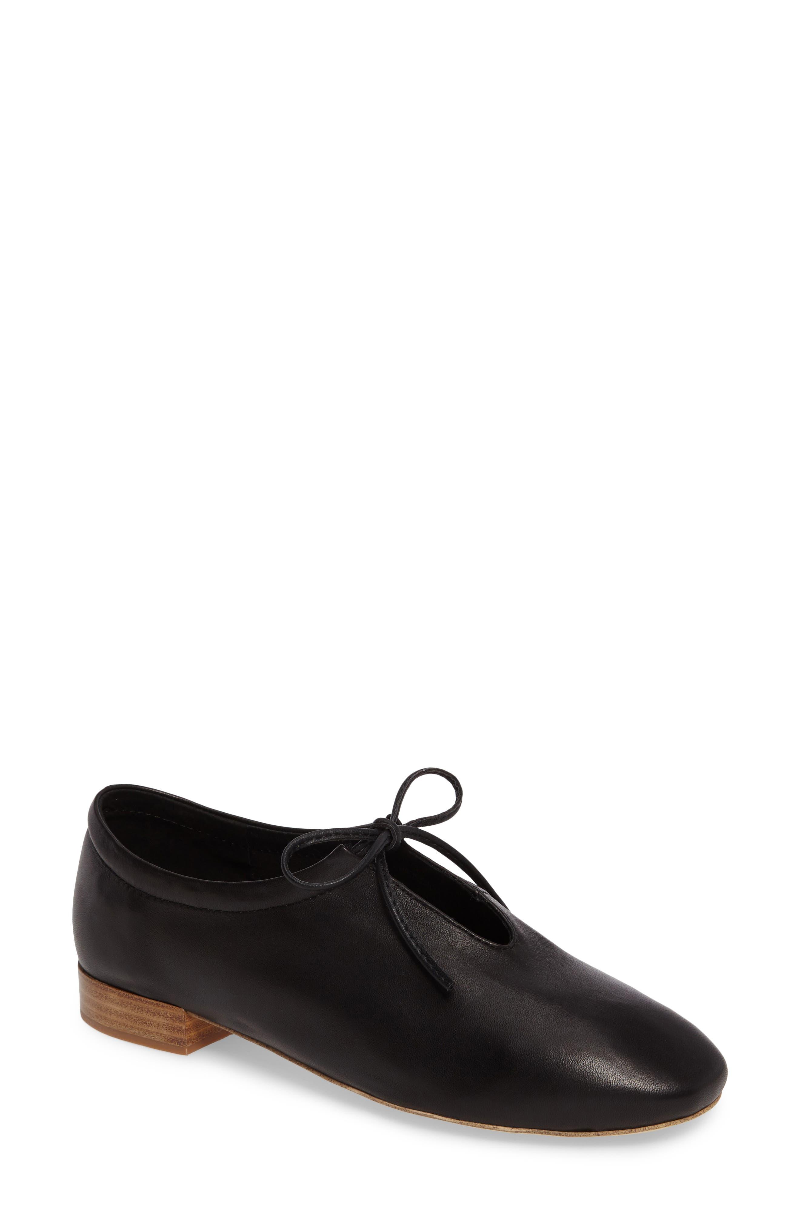 Prieto V-Cut Flat,                             Main thumbnail 1, color,                             Black Leather