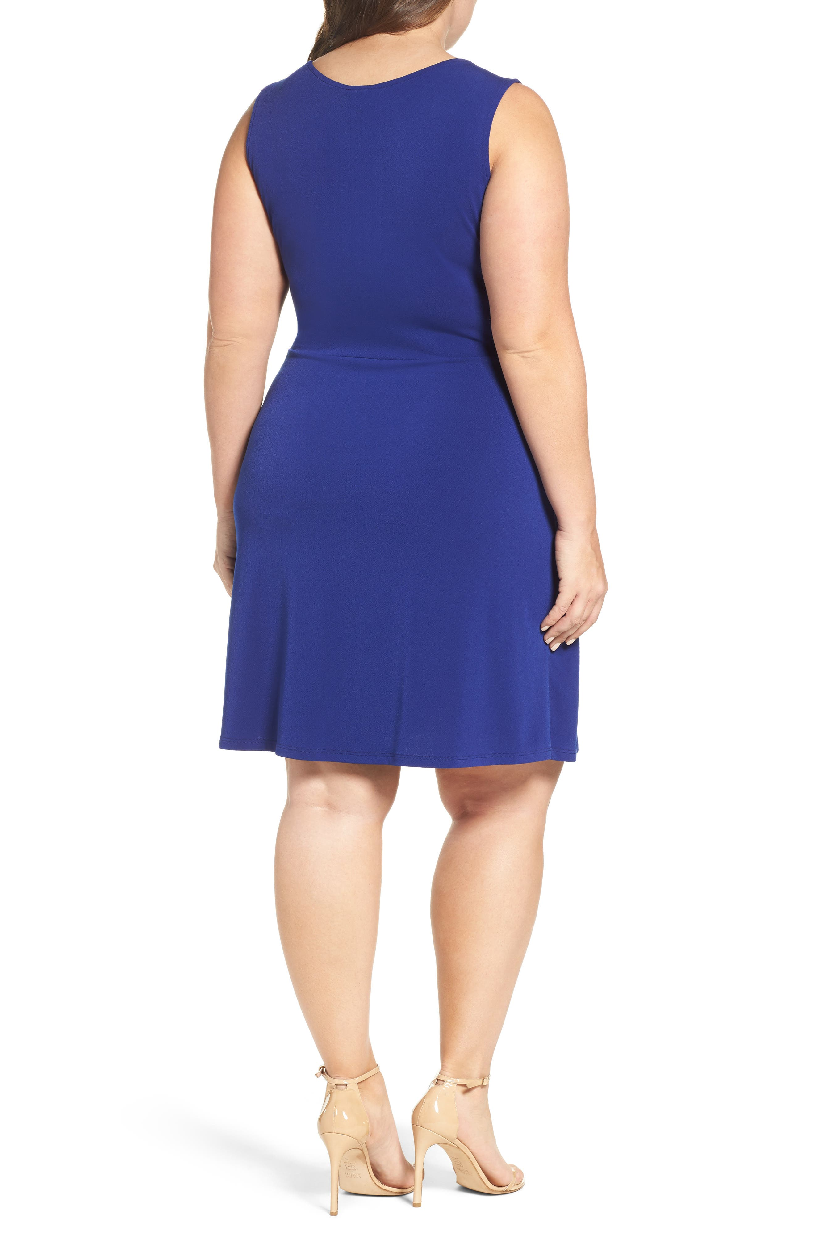 Twist Front Jersey Dress,                             Alternate thumbnail 2, color,                             Navy Crepe