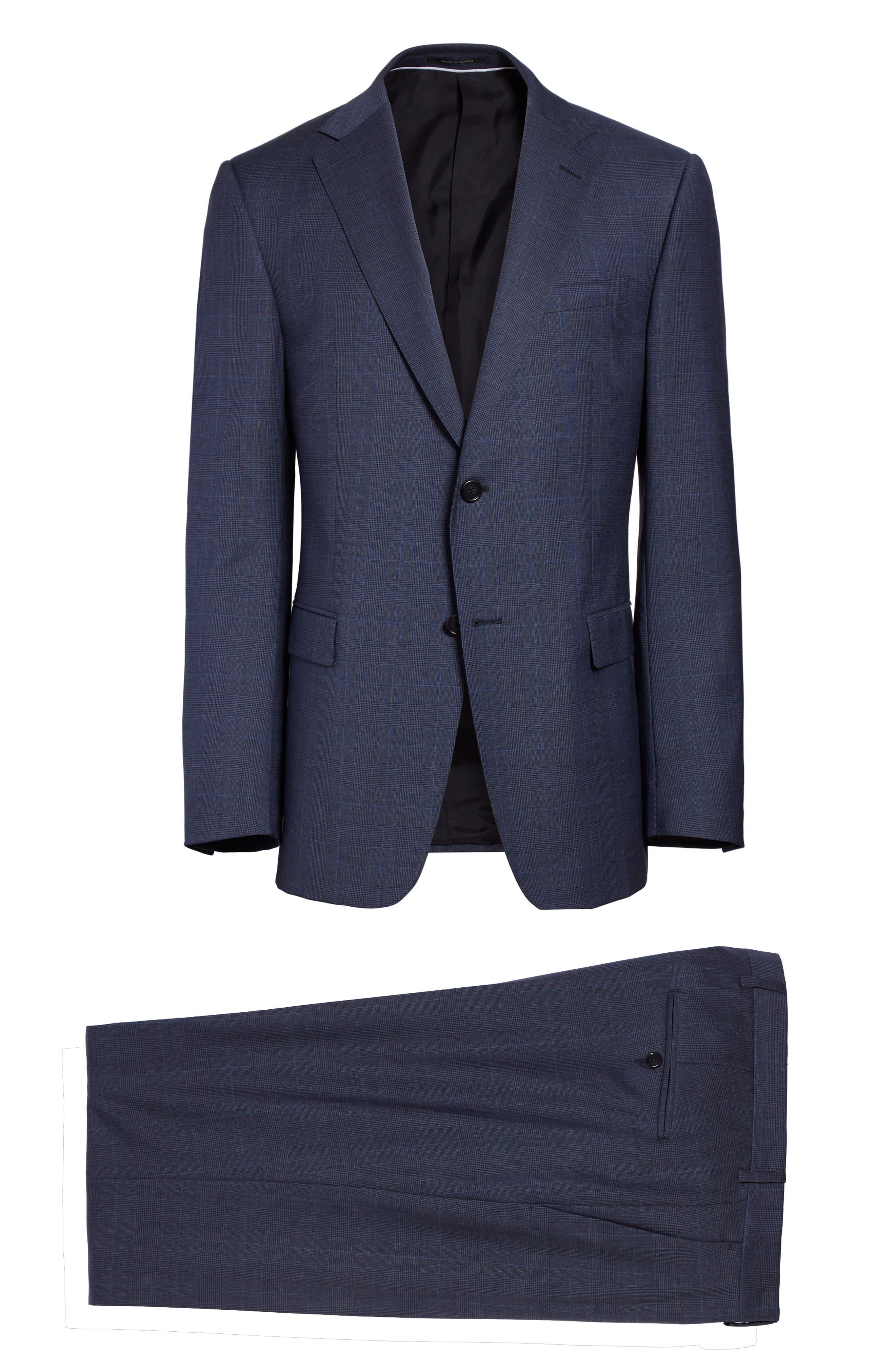 Drop 7 Trim Fit Plaid Wool Suit,                             Alternate thumbnail 8, color,                             Navy