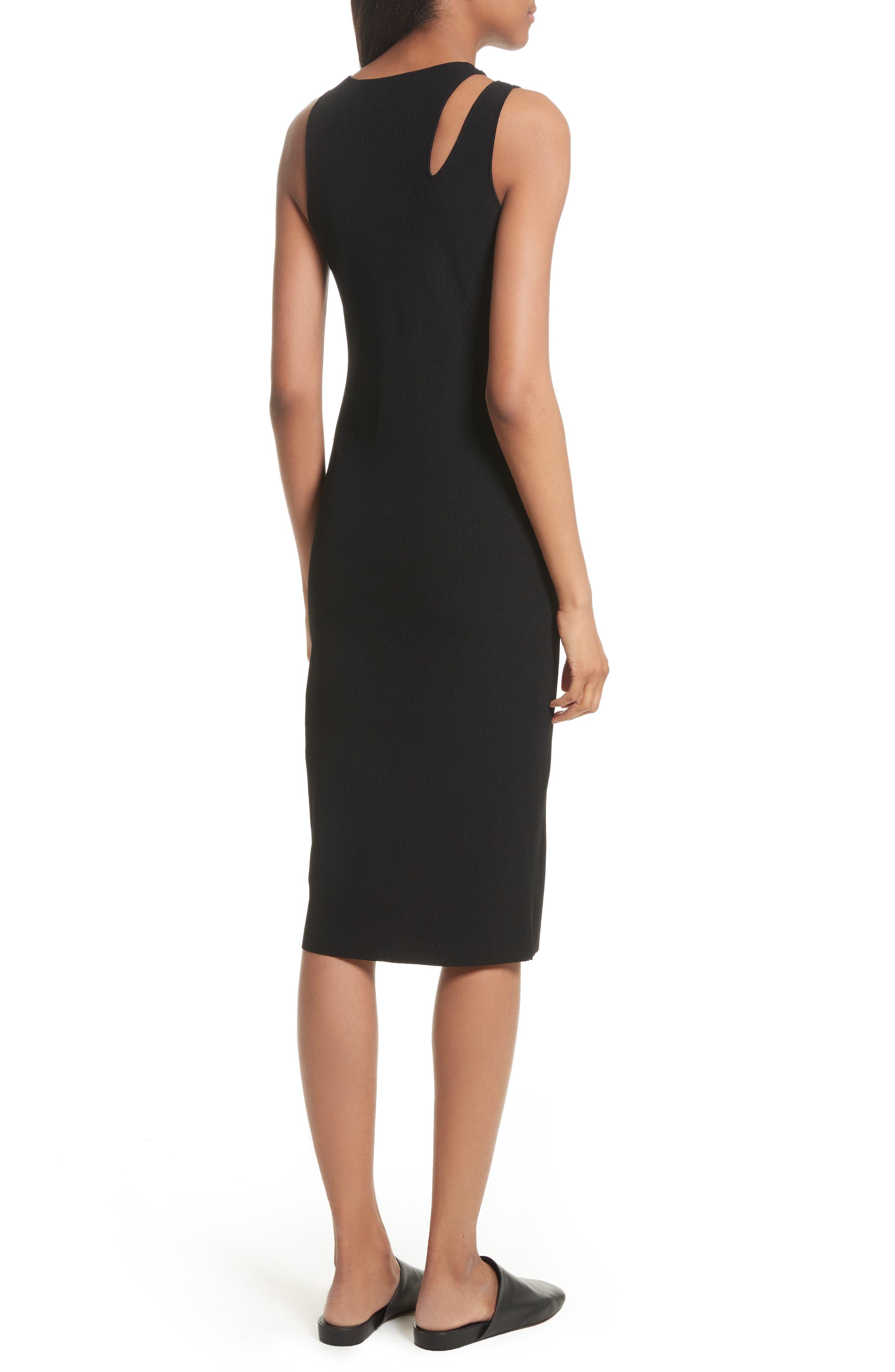 Slash Rib Knit Dress,                             Alternate thumbnail 2, color,                             Black