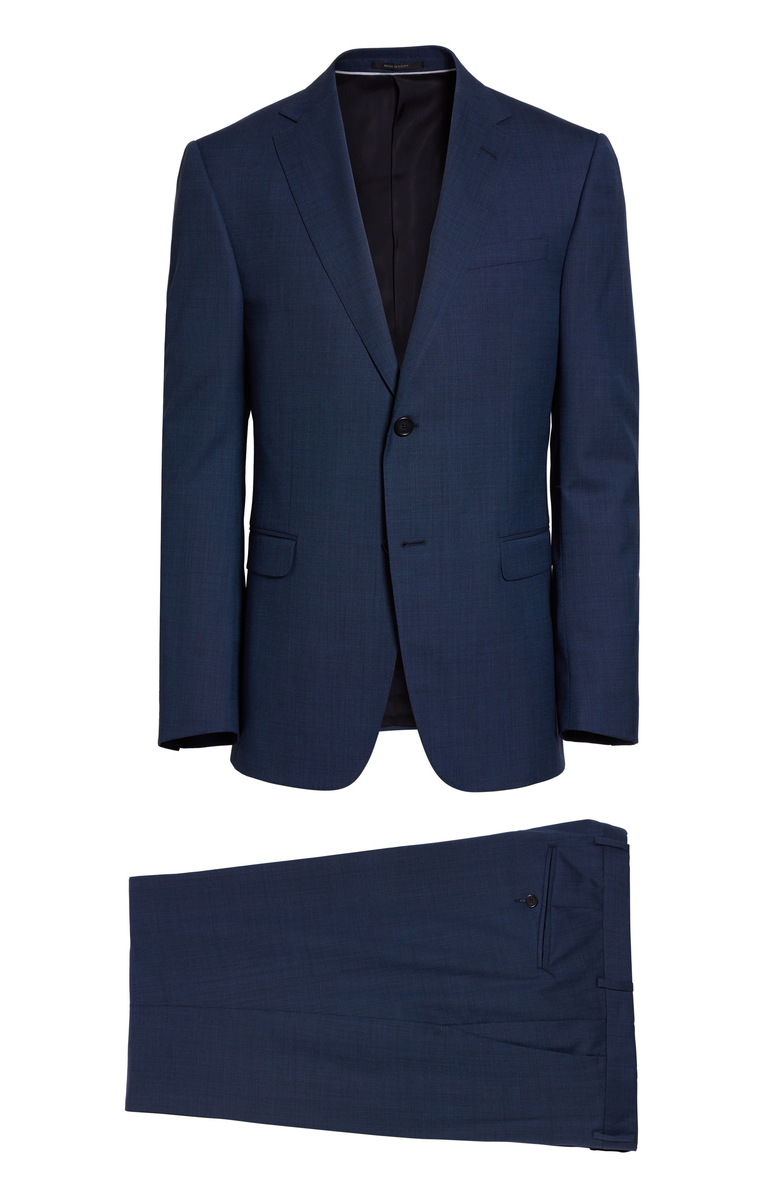 Drop 7 Trim Fit Solid Wool & Silk Suit,                             Alternate thumbnail 8, color,                             Navy