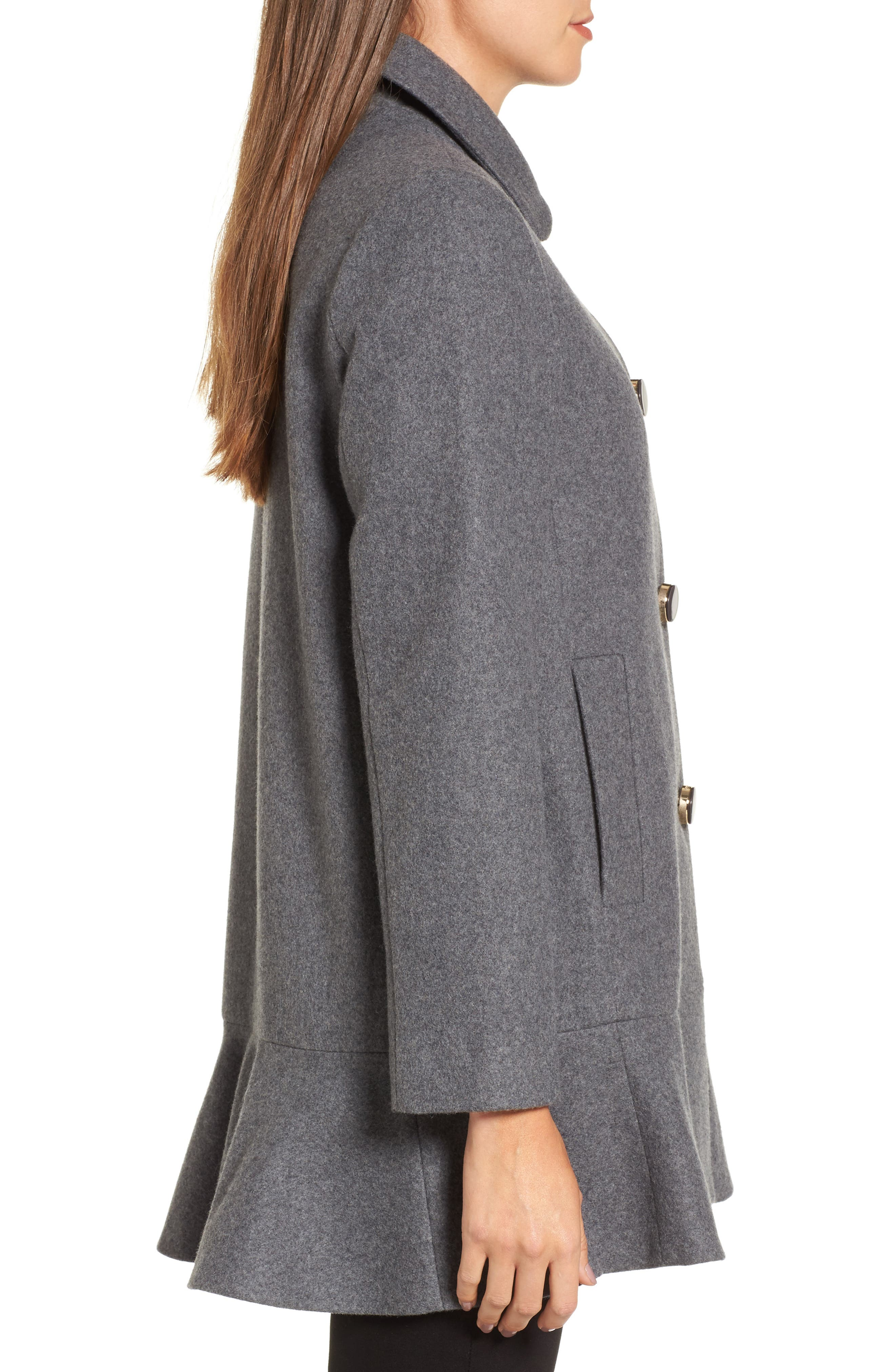 drop waist wool blend flounce coat,                             Alternate thumbnail 3, color,                             Soft Grey/ Light Grey