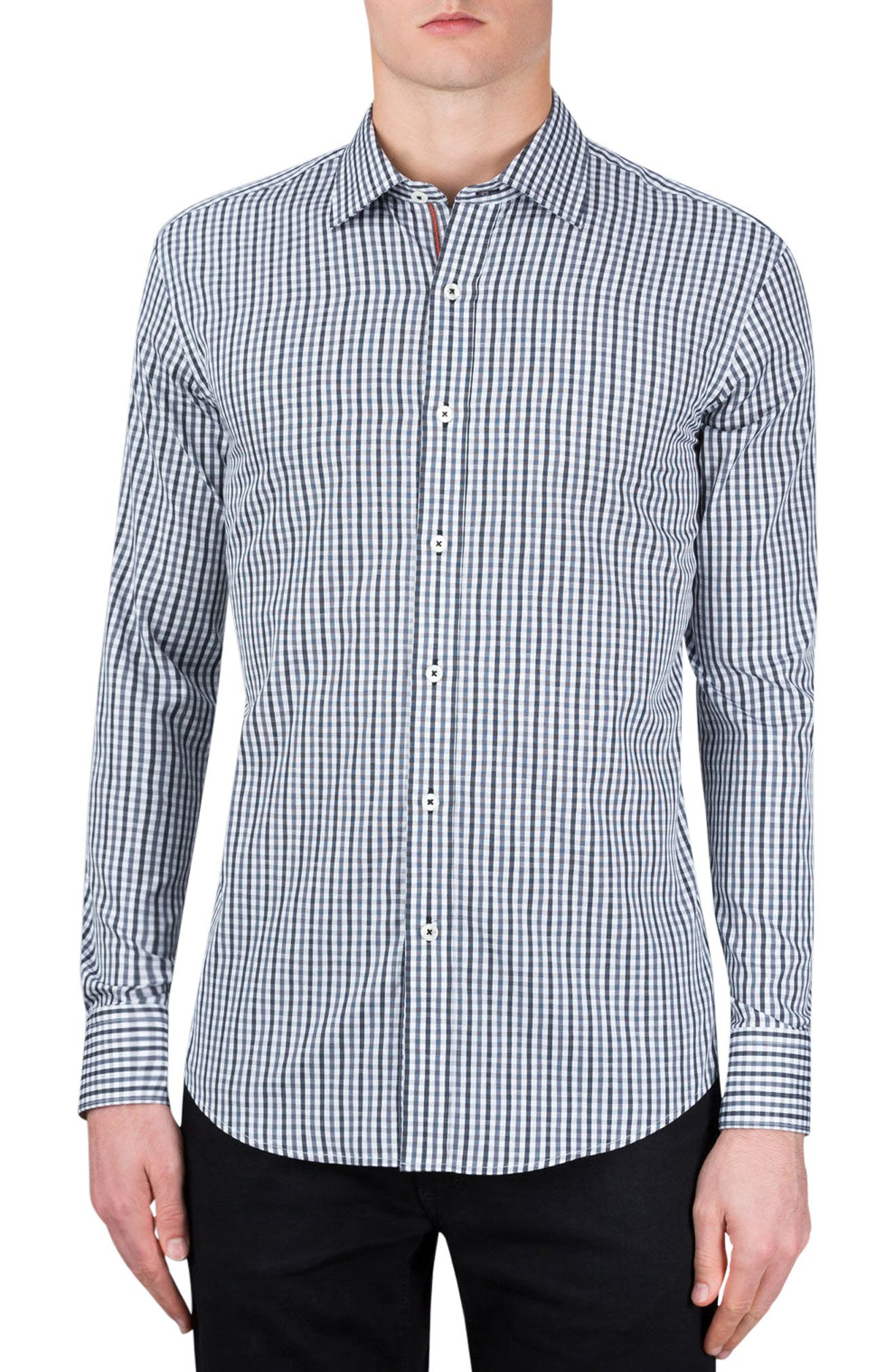 Classic Fit Gingham Sport Shirt,                         Main,                         color, Graphite