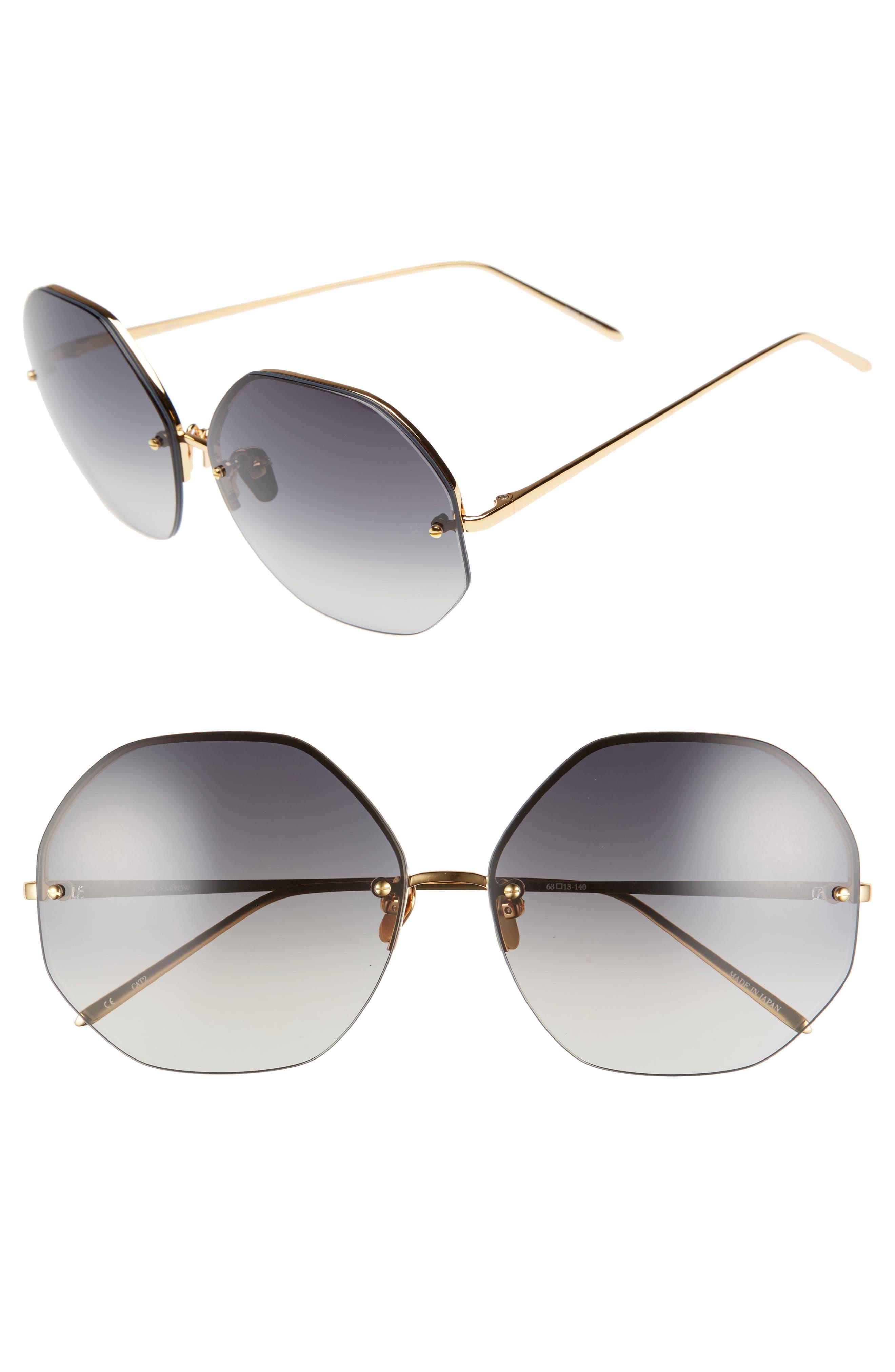 63mm Semi Rimless Round Titanium Sunglasses,                         Main,                         color, Yellow Gold/ Grey