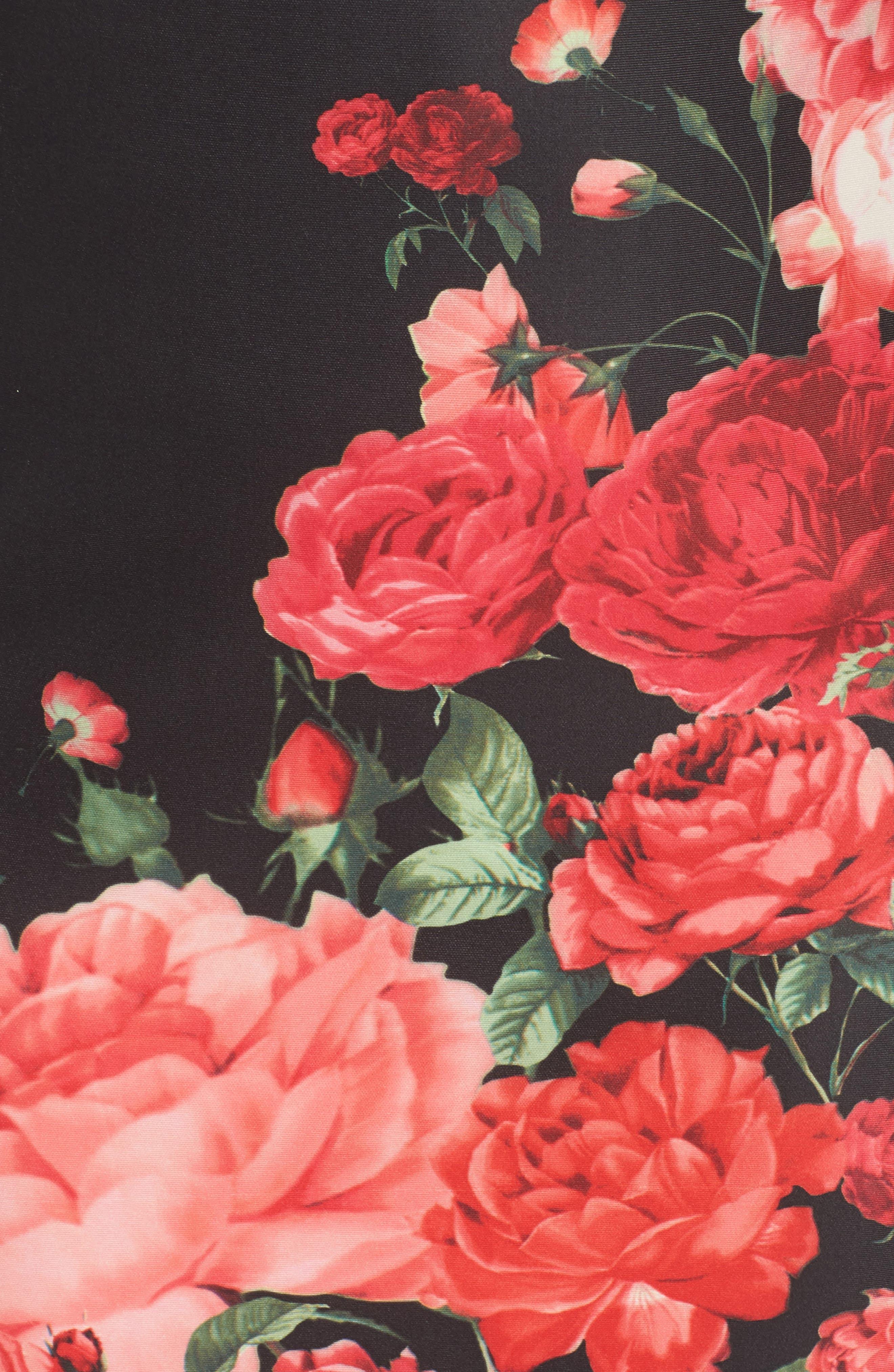 Floral Print Sheath Dress,                             Alternate thumbnail 5, color,                             Black/ Red