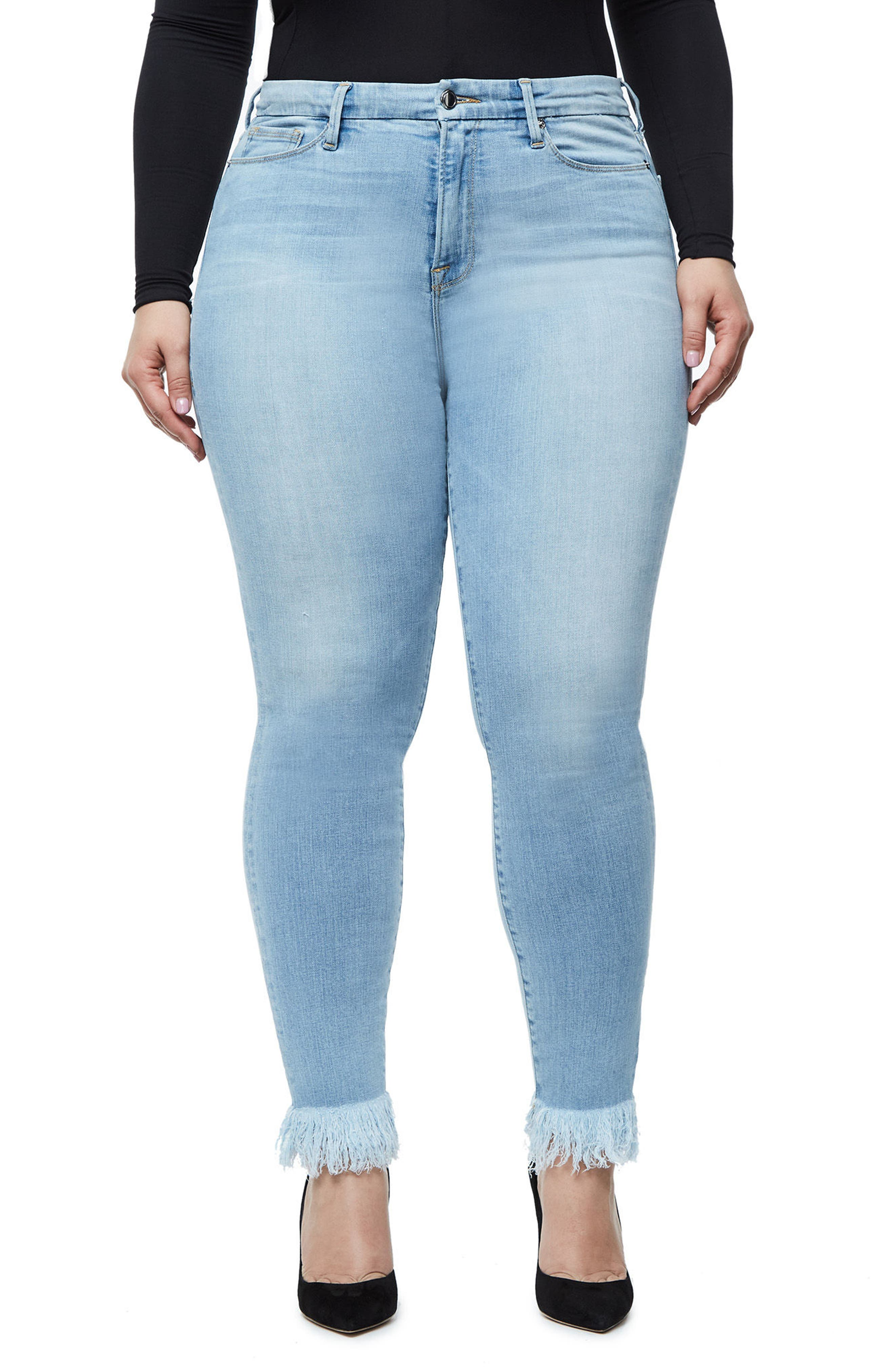 Alternate Image 7  - Good American Good Waist High Waist Frayed Ankle Skinny Jeans (Blue 054) (Extended Sizes)