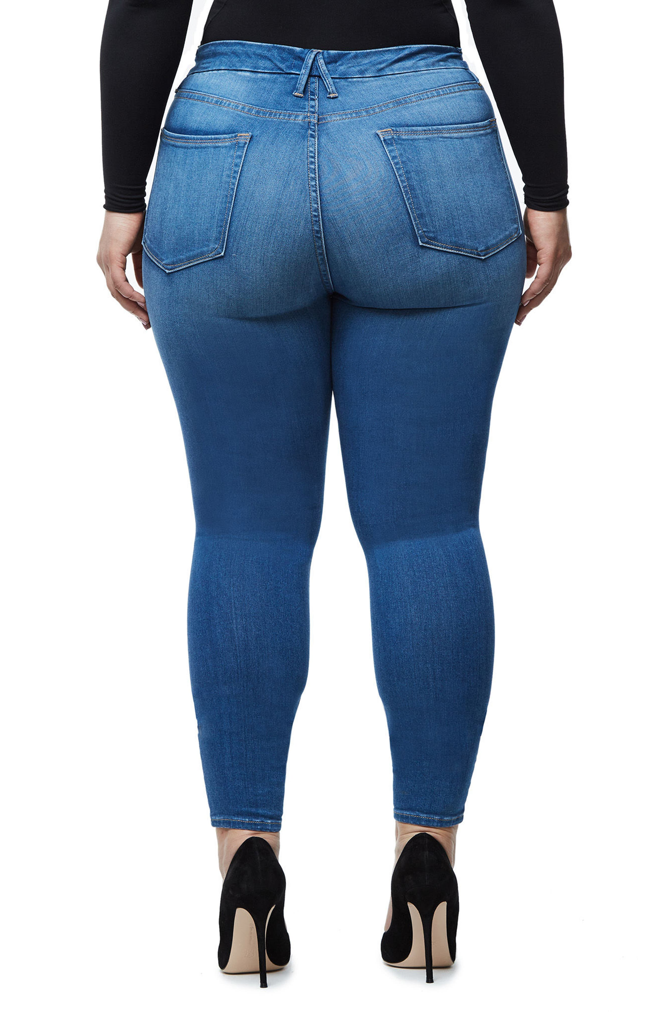 Alternate Image 8  - Good American Good Waist High Waist Crop Skinny Jeans (Blue 056) (Extended Sizes)
