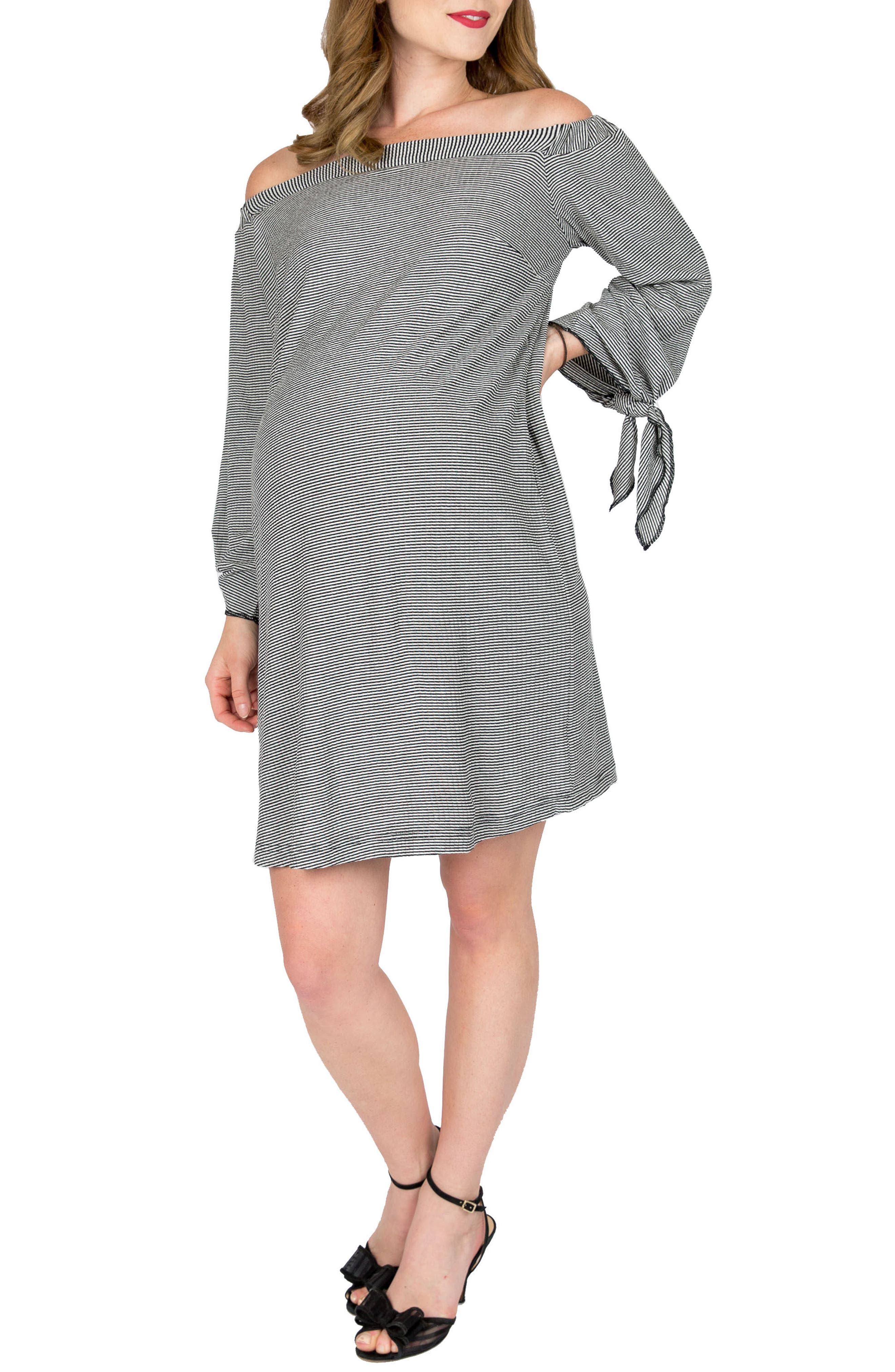 Octavia Off The Shoulder Maternity Dress,                         Main,                         color, Black White Stripe