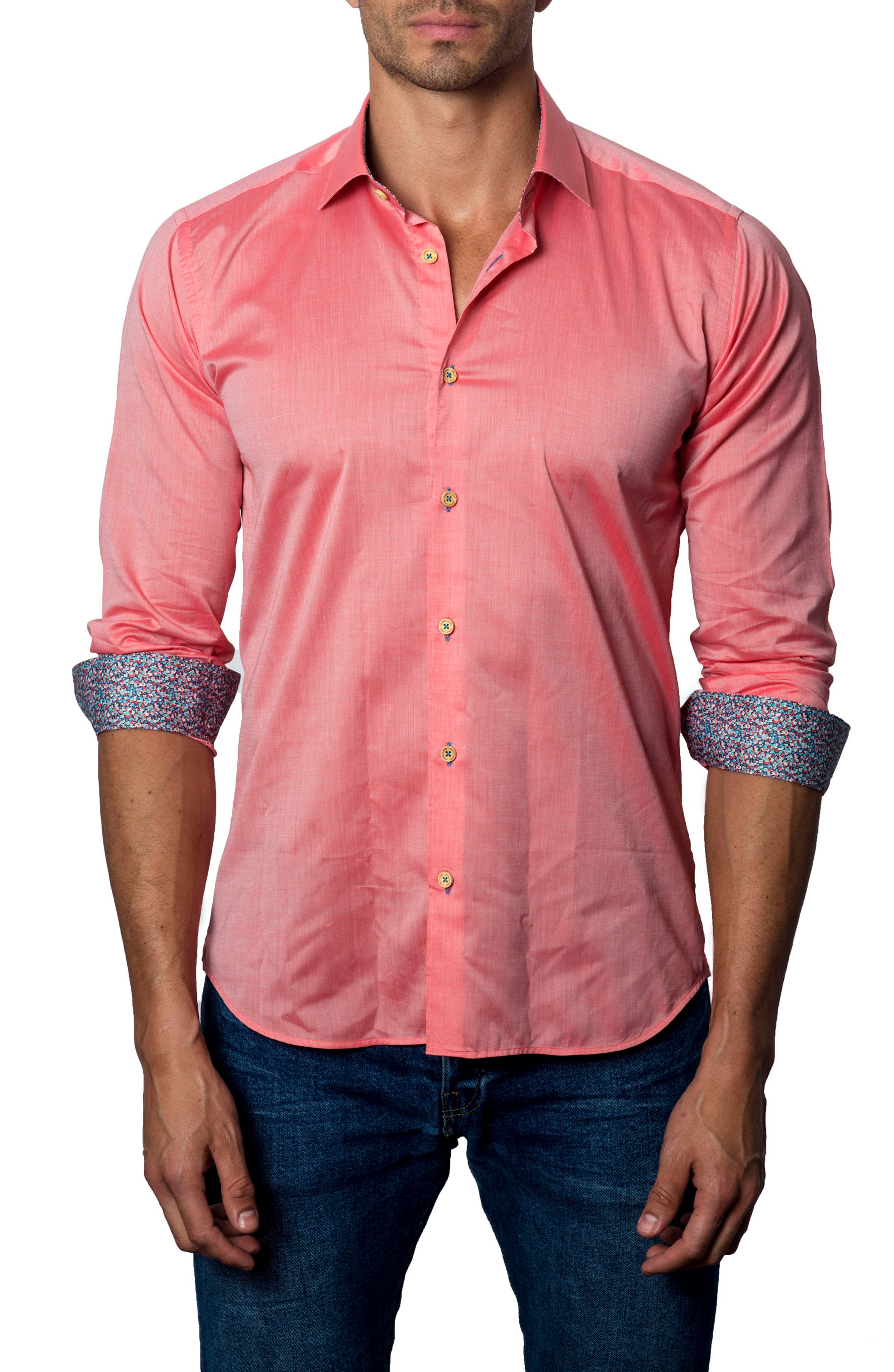 Trim Fit Sport Shirt,                             Main thumbnail 1, color,                             Red Pastel