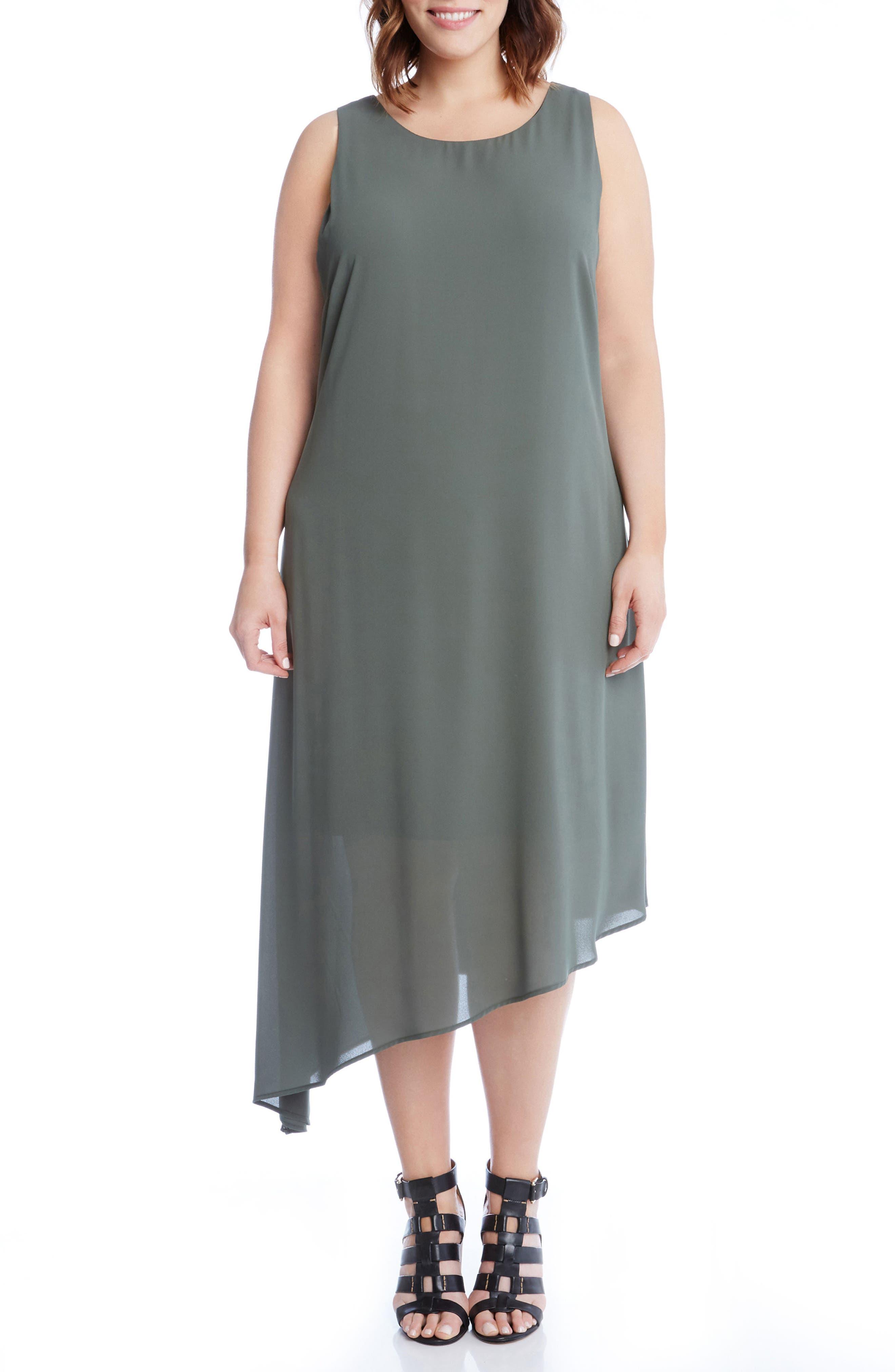 Karen Kane Asymmetrical Overlay Shift Dress (Plus Size)
