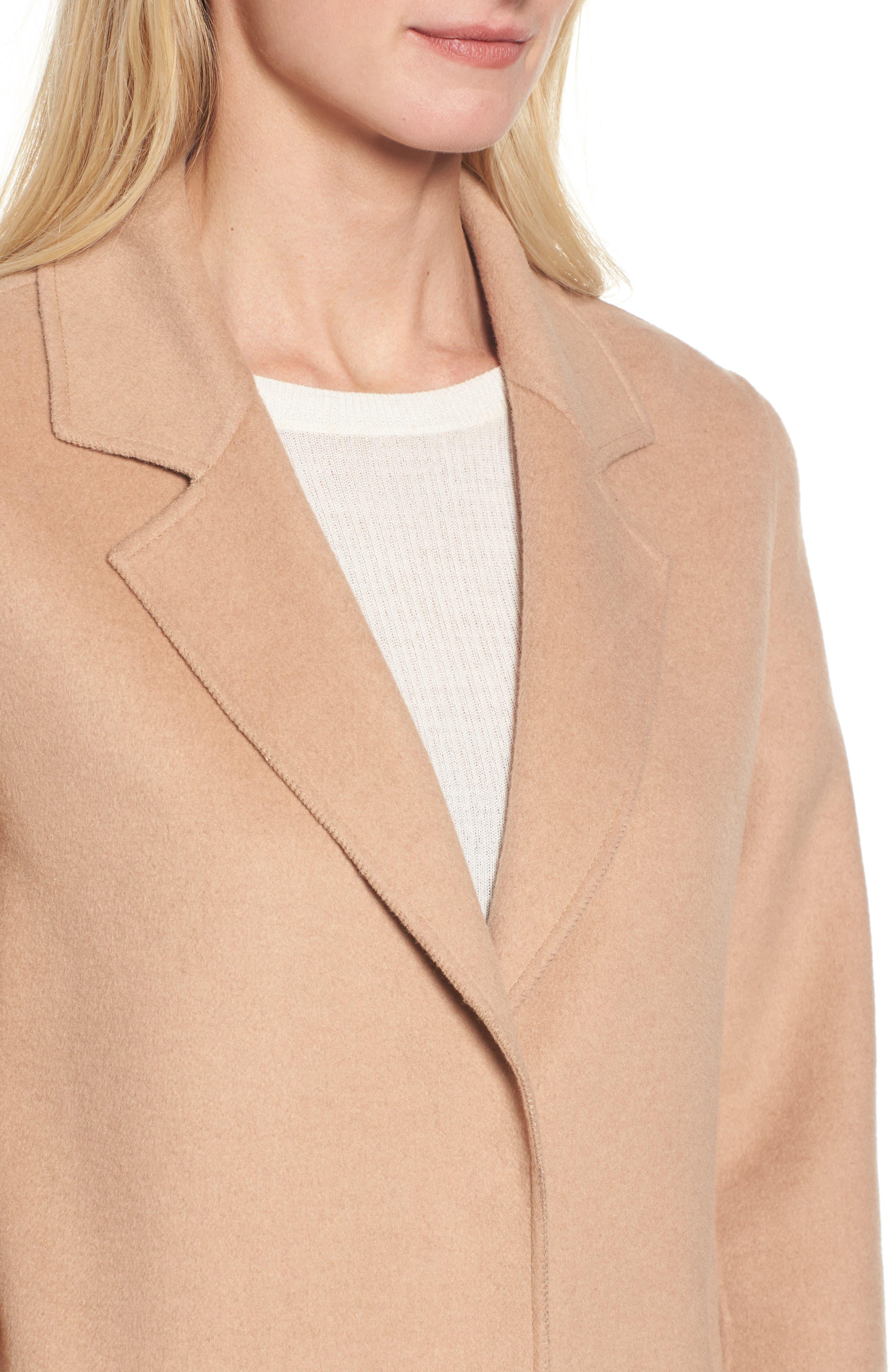 Double Face Wool Blend Long Coat,                             Alternate thumbnail 4, color,                             Camel