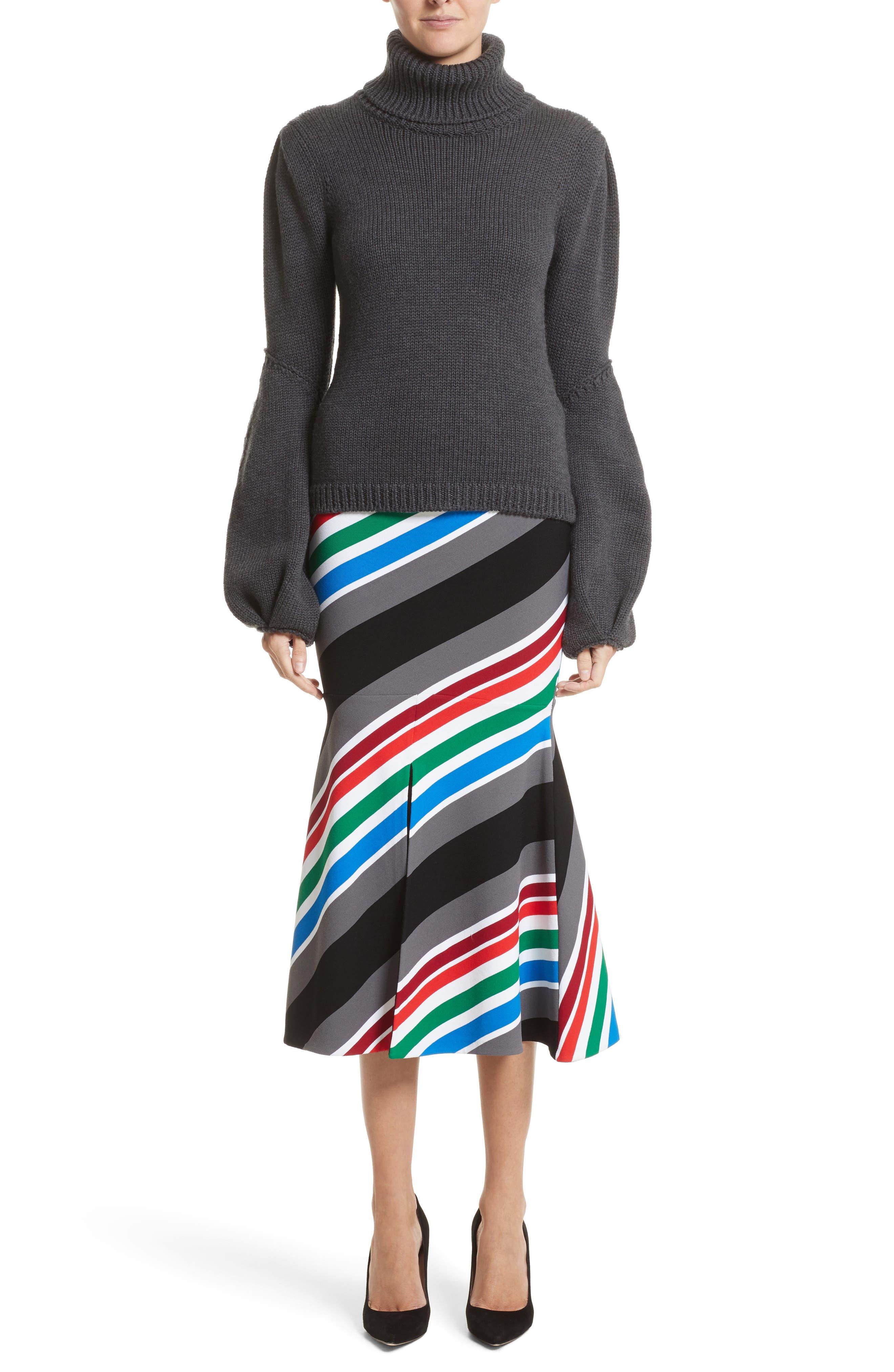 Alternate Image 7  - Oscar de la Renta Compact Knit Stripe Skirt