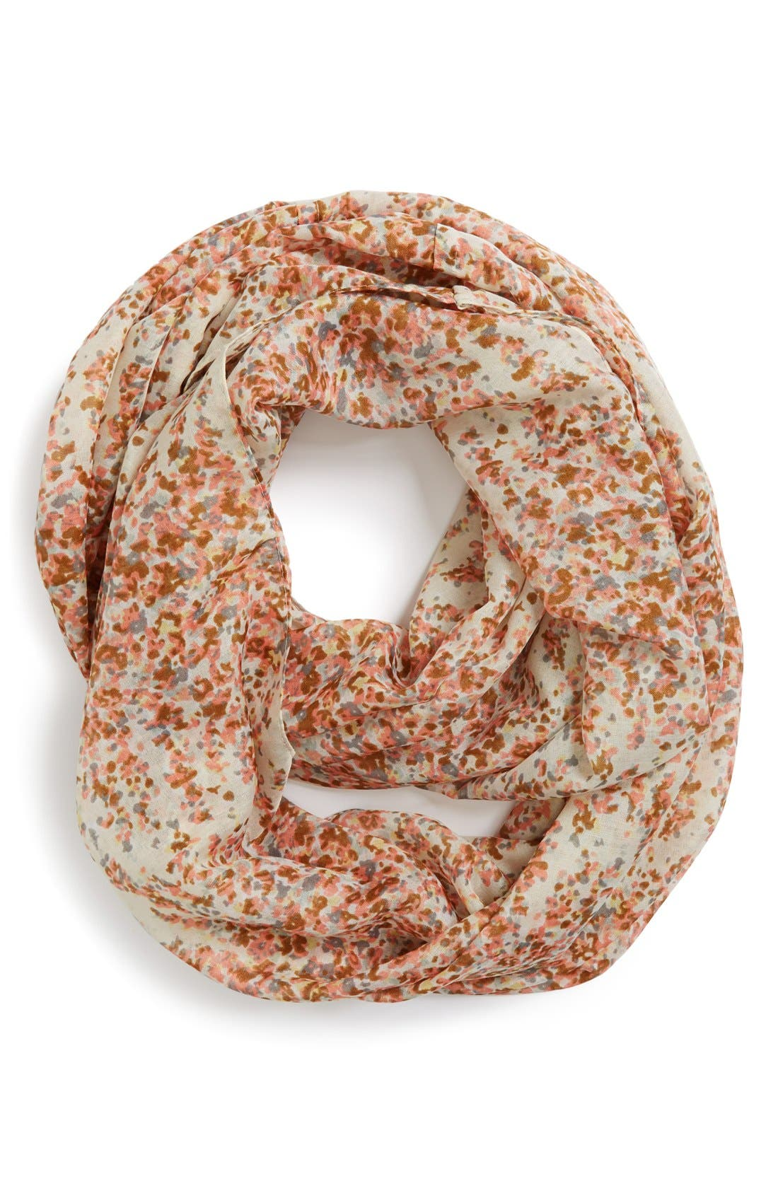 'Scattered Ditsy' Floral Print Infinity Scarf,                             Main thumbnail 1, color,                             Ivory Multi