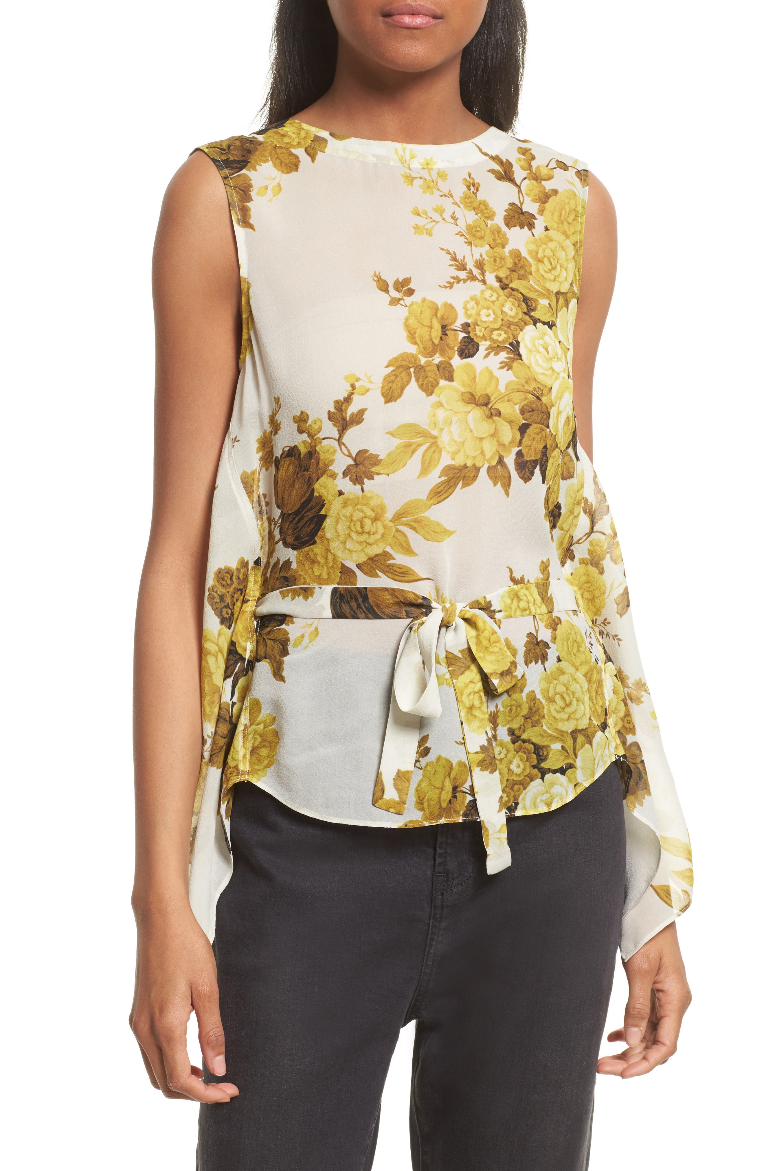 Robert Rodriguez Floral Print Drape Back Silk Top