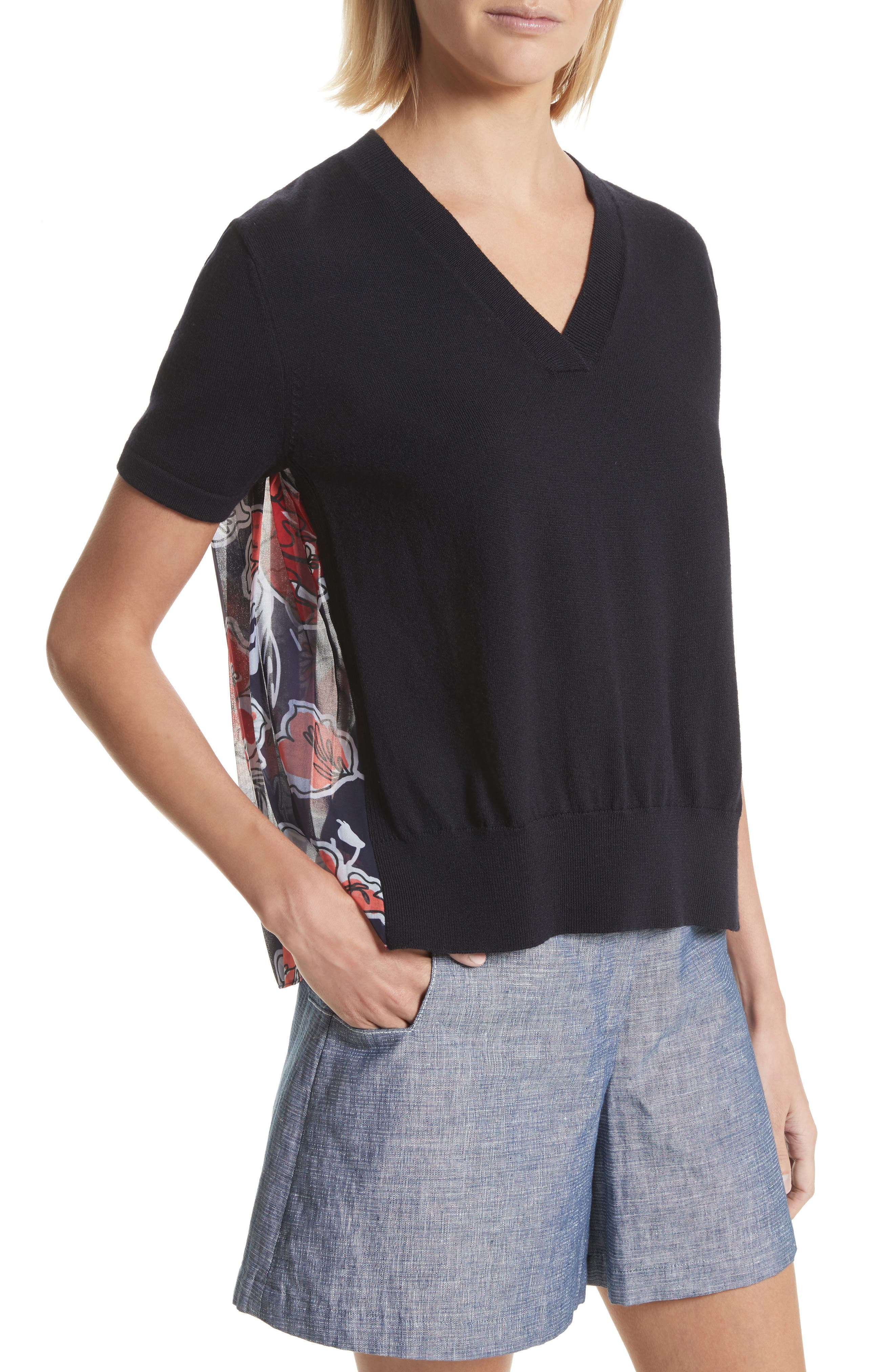 Pleated Back Combo Sweater,                             Alternate thumbnail 4, color,                             Midnight Multi