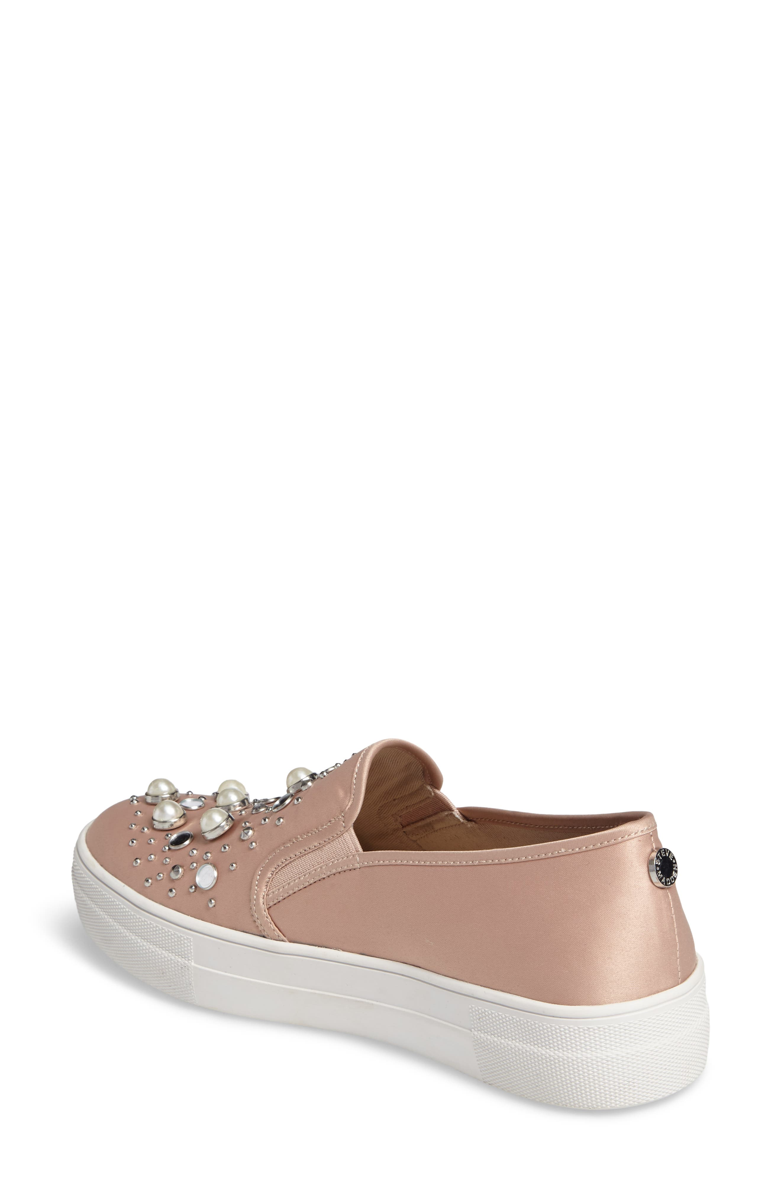 Glade Embellished Slip-On Sneaker,                             Alternate thumbnail 2, color,                             Blush Satin