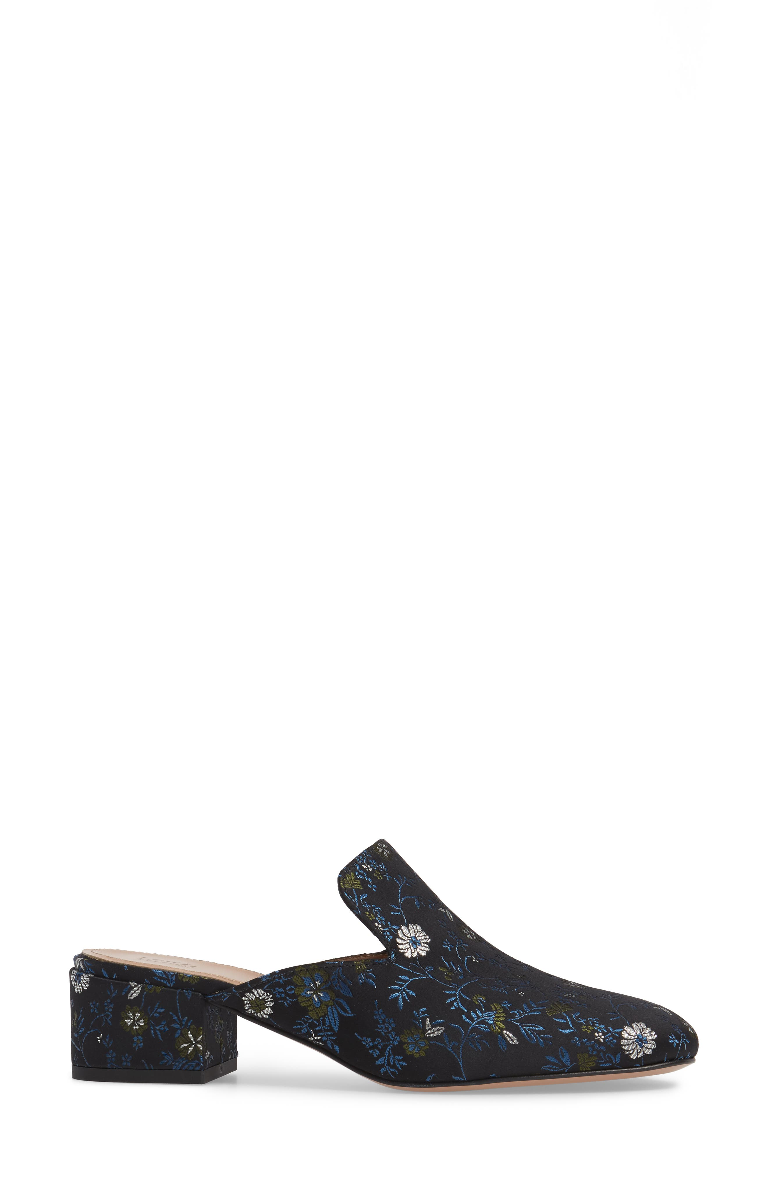 Bianca Embroidered Loafer Mule,                             Alternate thumbnail 3, color,                             Black/ Blue Floral Fabric