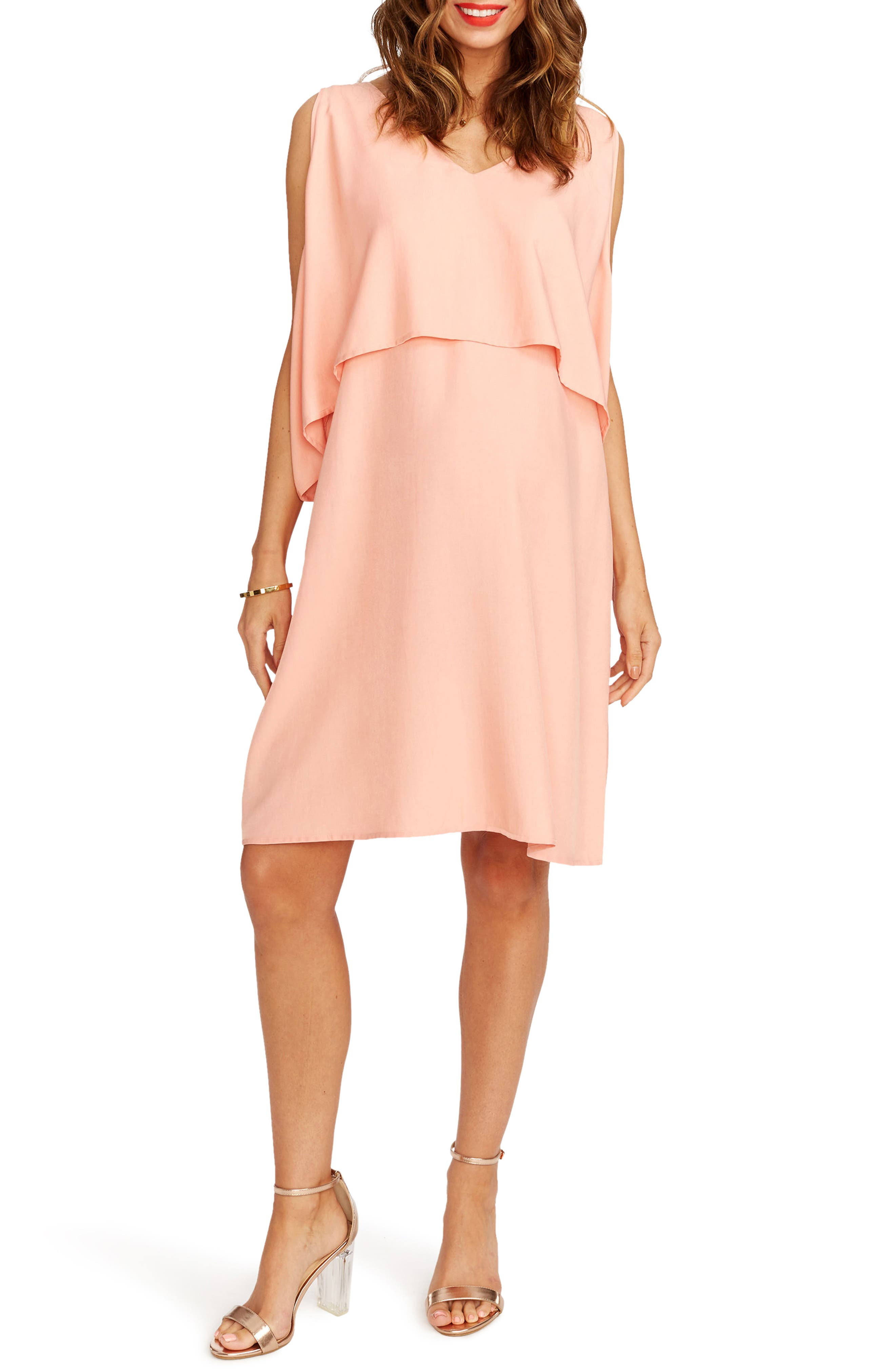 Janie Maternity Dress,                         Main,                         color, Rose