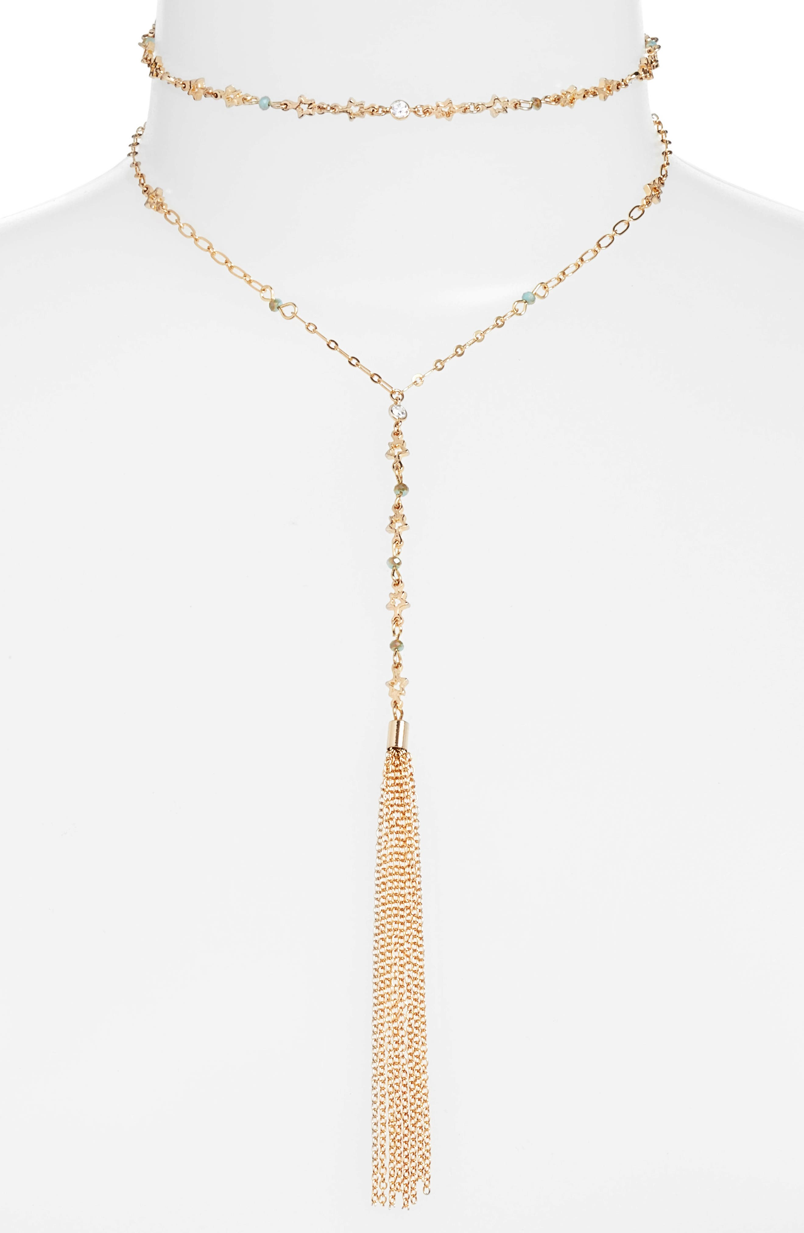 Set of 2 Choker & Y-Necklace,                         Main,                         color, Gold