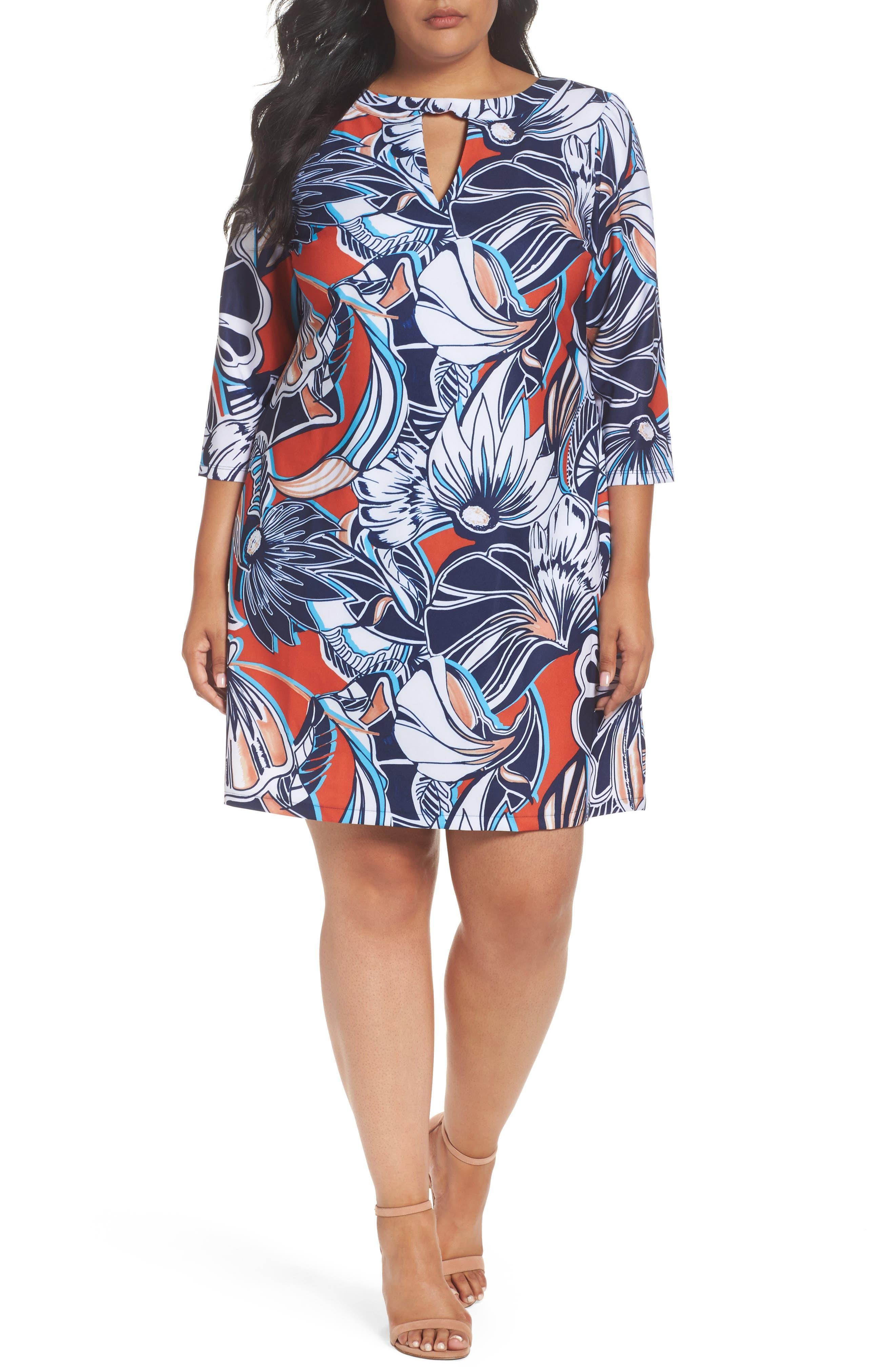 Main Image - ECI Floral A-Line Shift Dress (Plus Size)