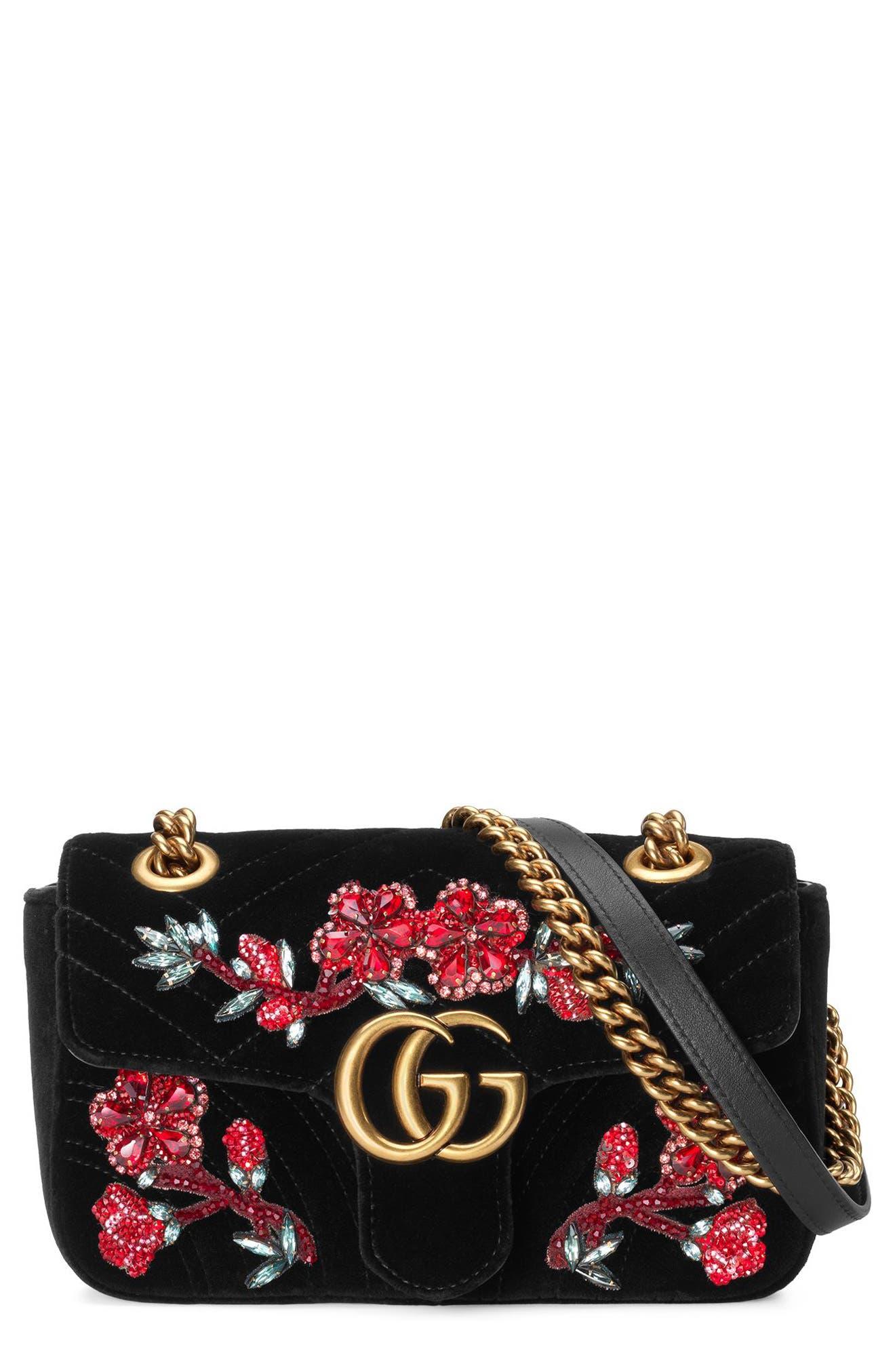 GUCCI Mini GG Marmont Matelassé Velvet Shoulder Bag