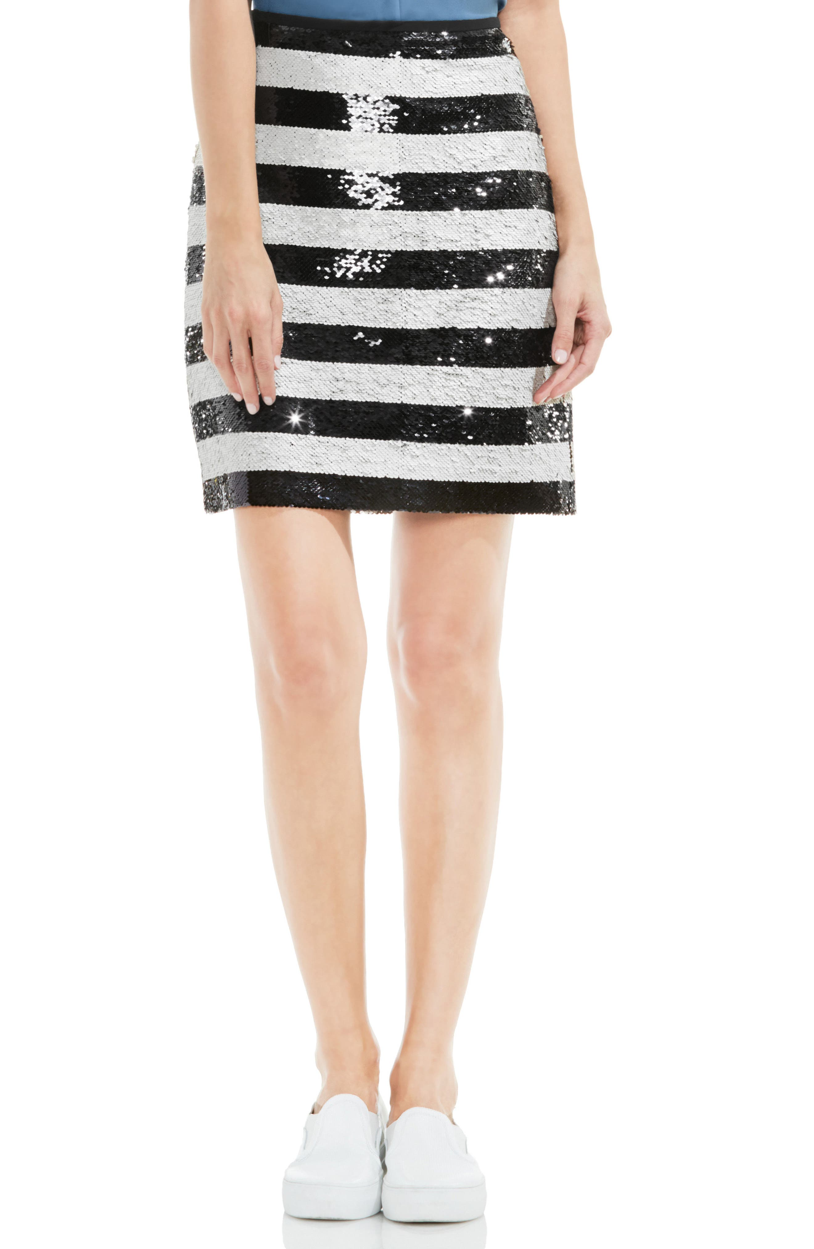 VINCE CAMUTO Sequin Stripe Skirt