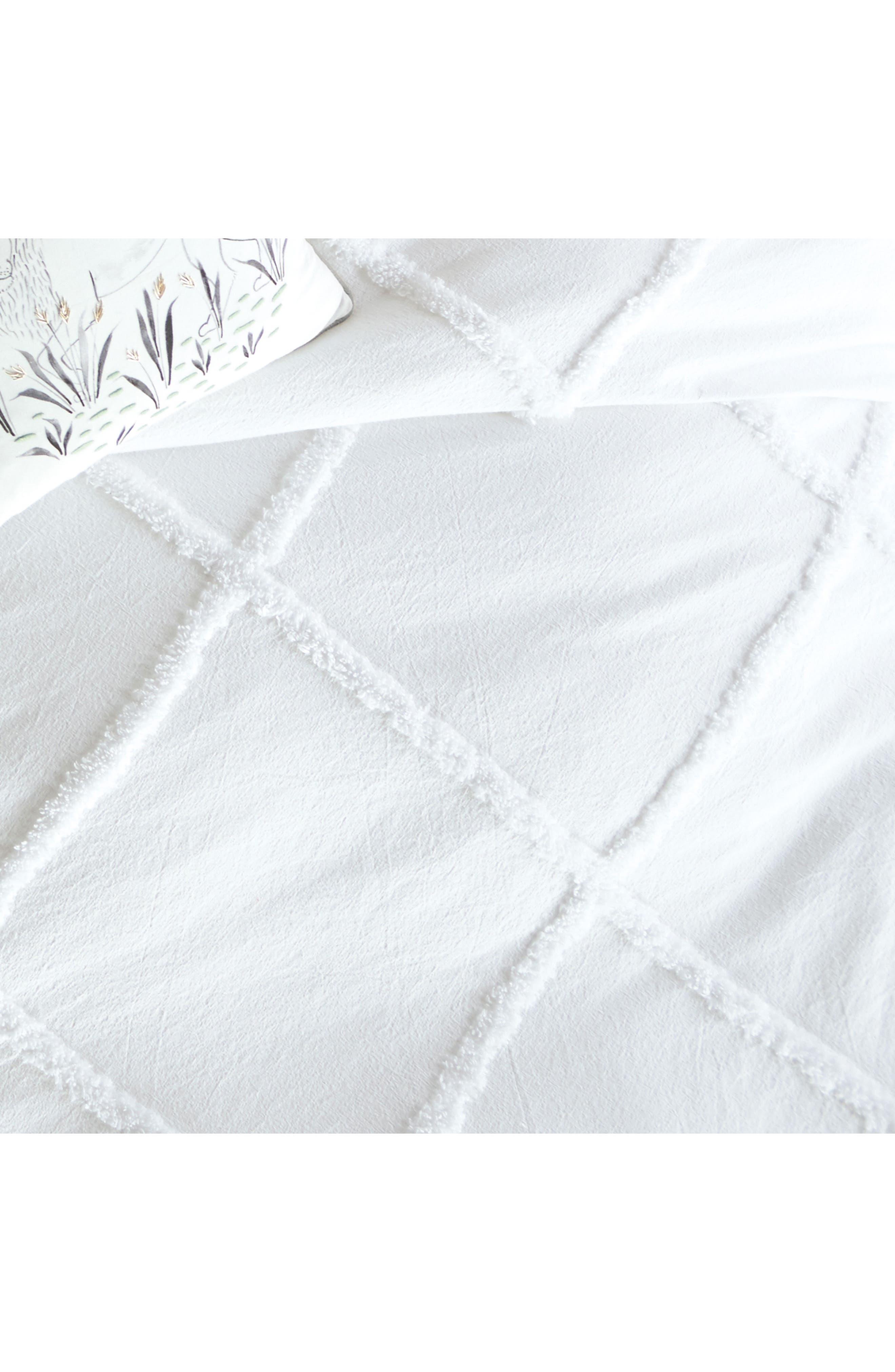 Chenille Lattice Duvet Cover,                             Alternate thumbnail 4, color,                             White