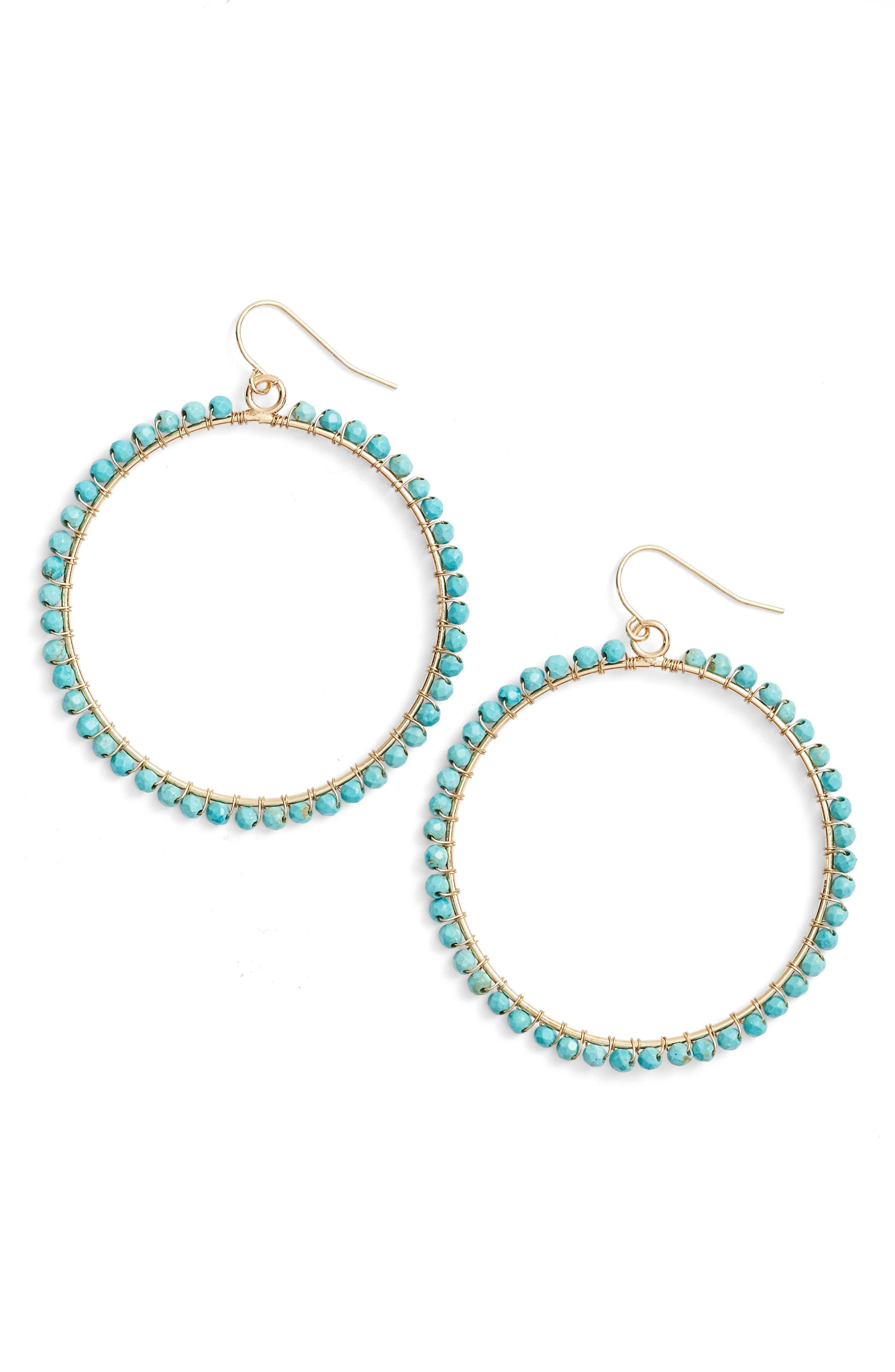 Wrapped Hoop Earrings,                             Main thumbnail 1, color,                             Turquoise
