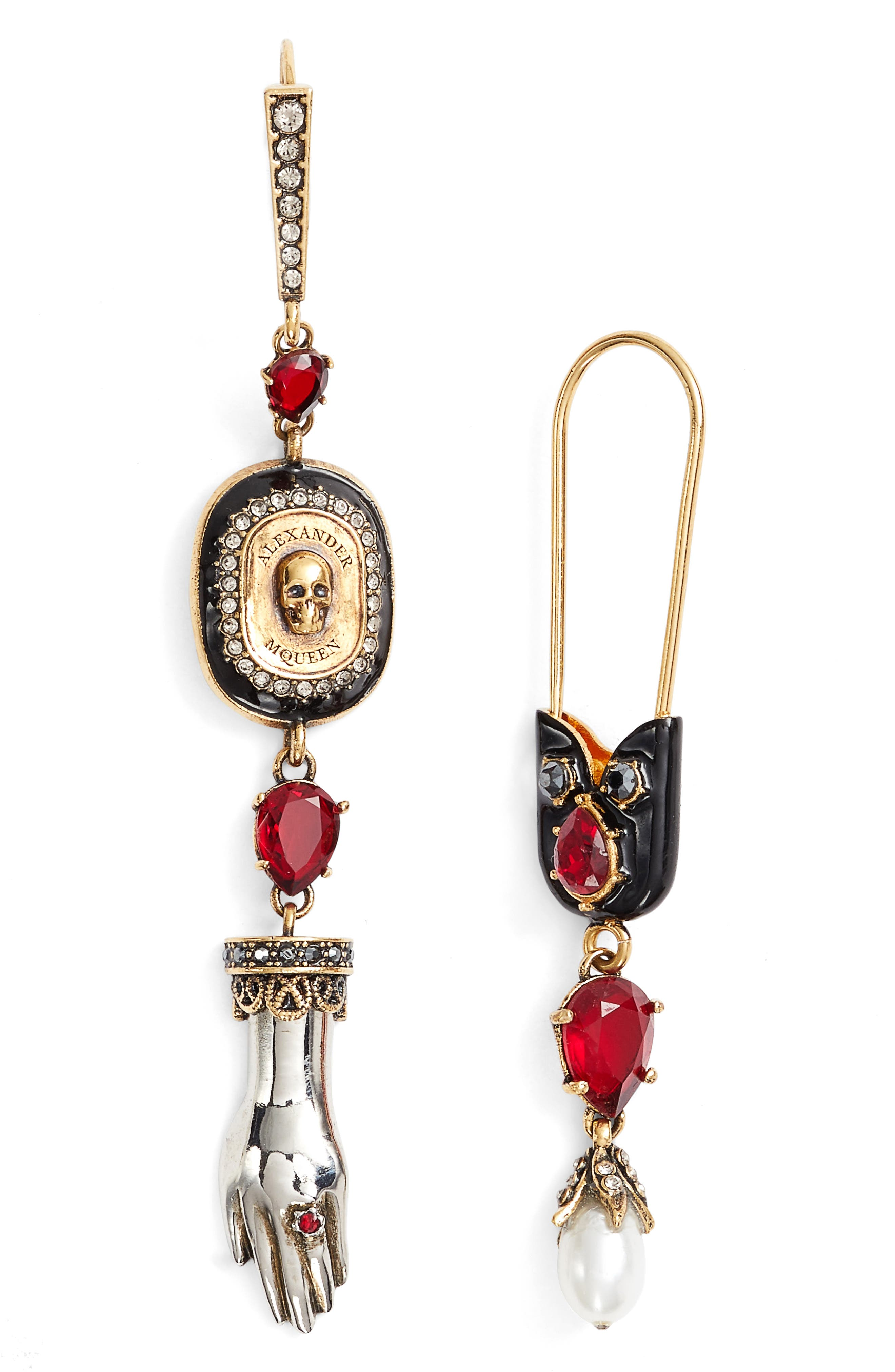 Safety Pin Skull Earrings,                         Main,                         color, Siam/ Gold