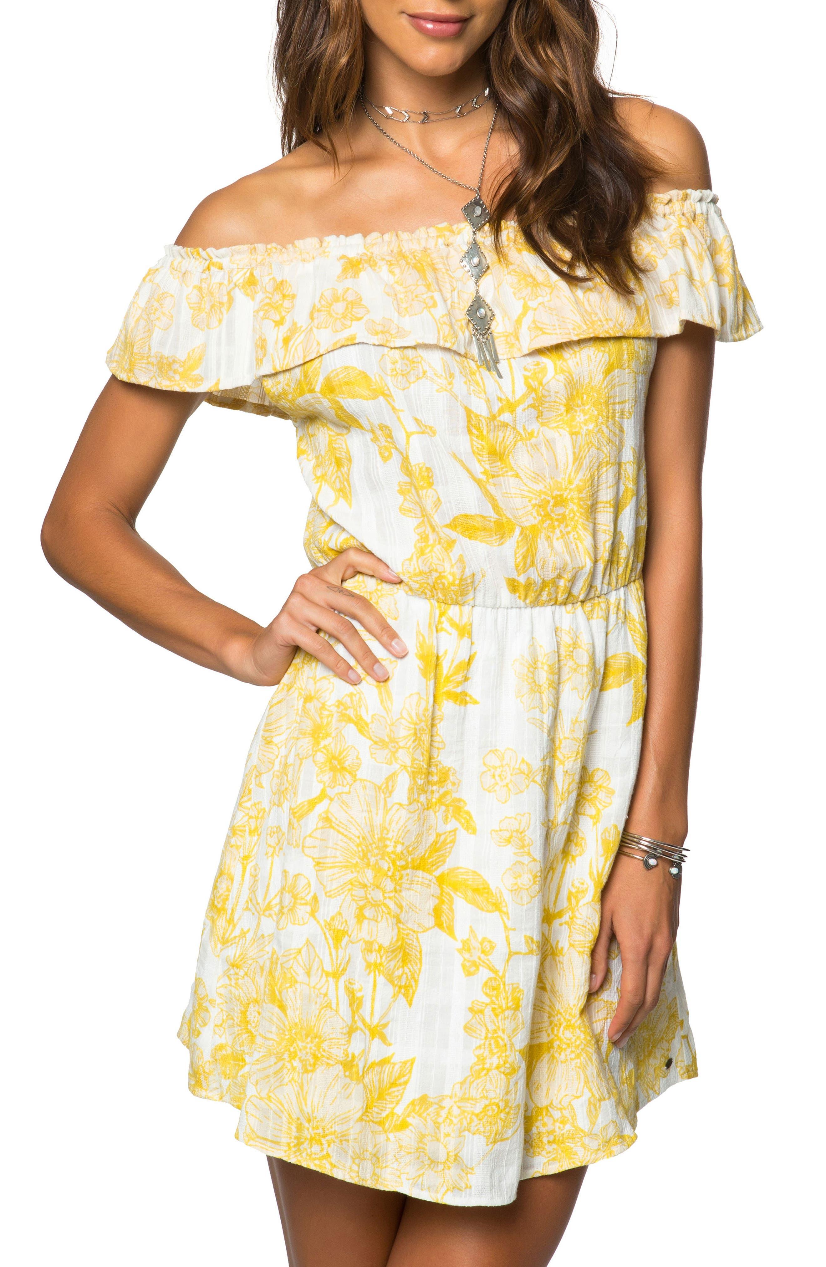 Dorothy Floral Off the Shoulder Dress,                         Main,                         color, Naked