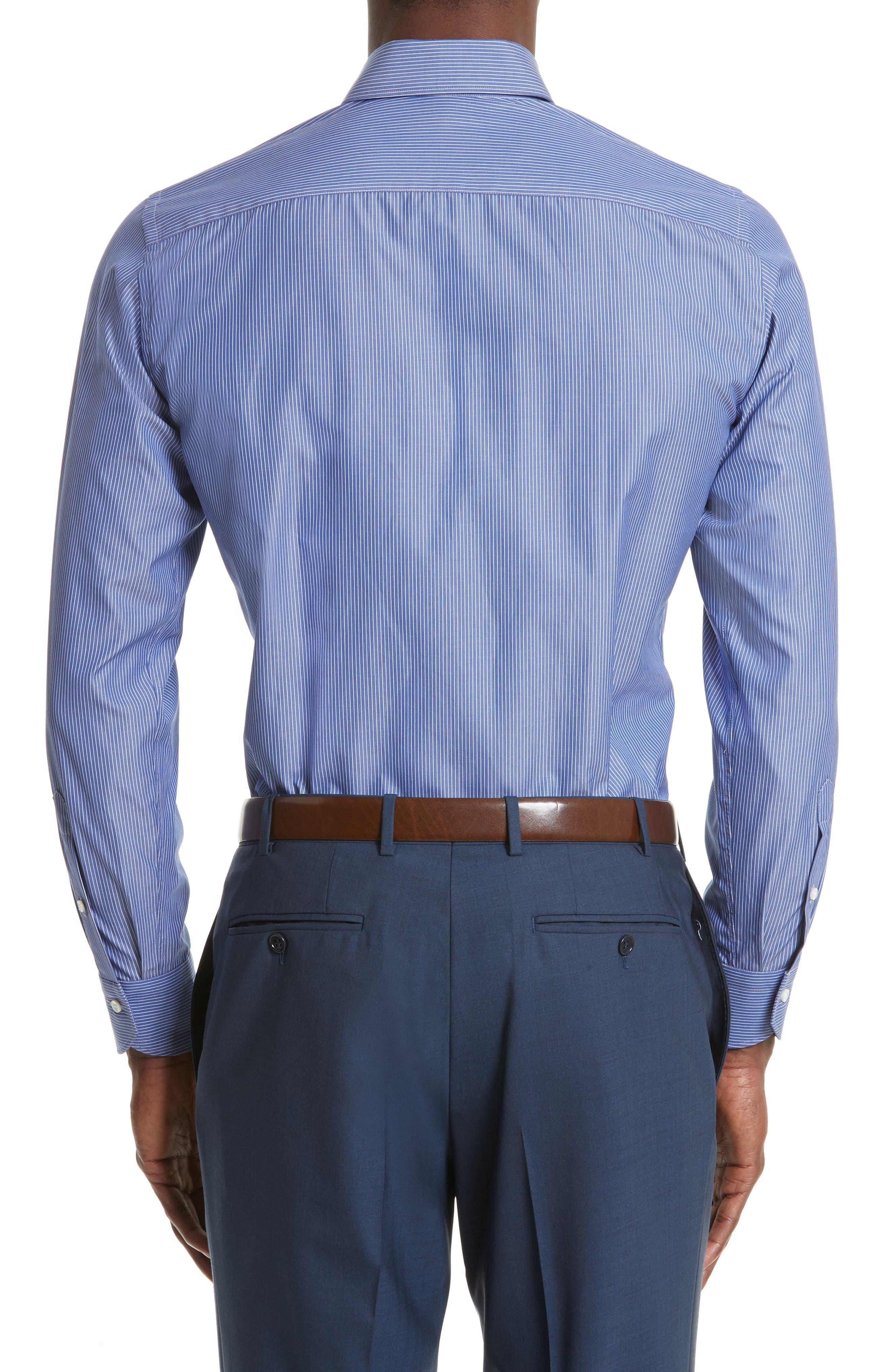 Alternate Image 3  - Canali Regular Fit Stripe Dress Shirt