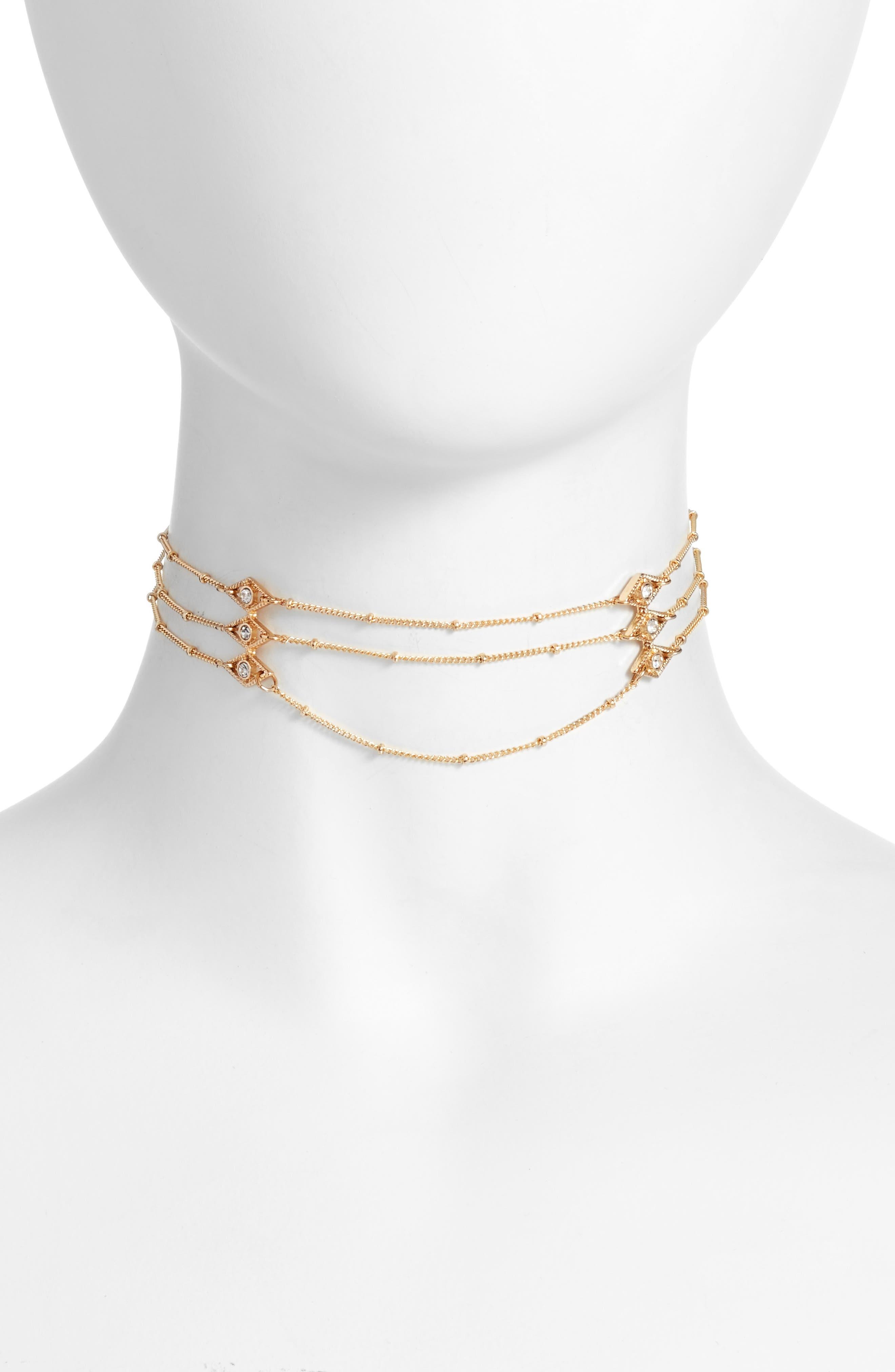 Layered Chain Choker,                             Main thumbnail 1, color,                             Gold