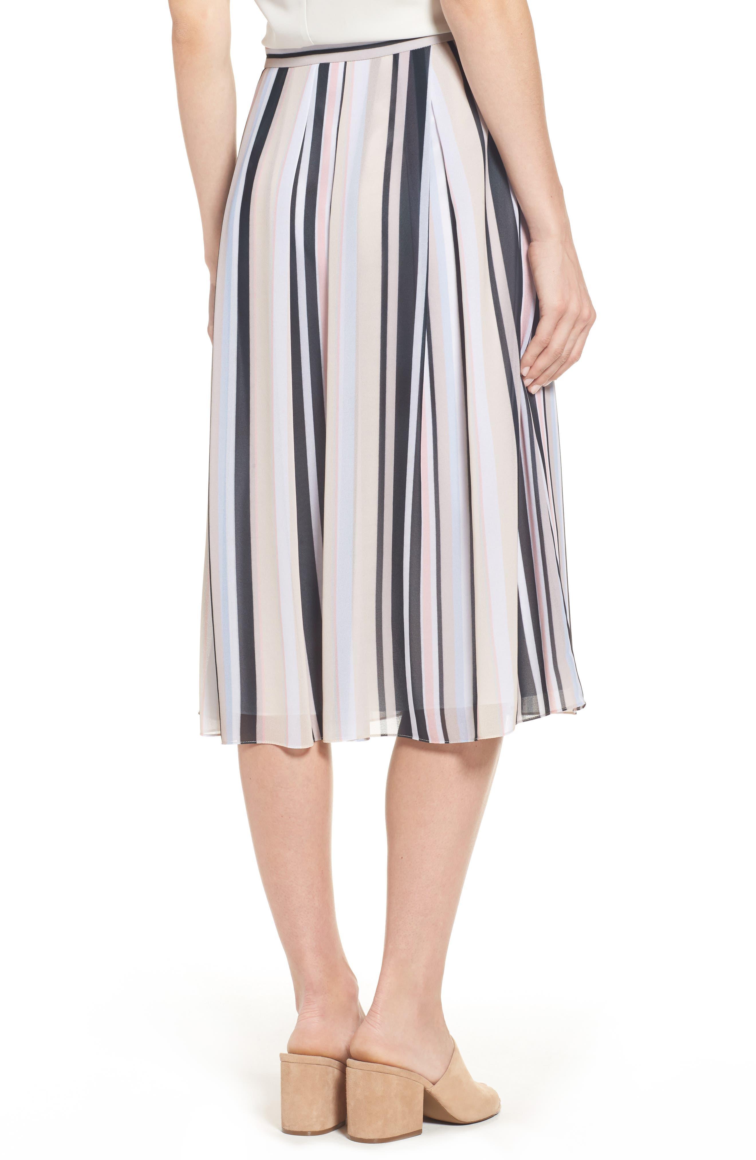 Stripe A-Line Skirt,                             Alternate thumbnail 2, color,                             Black/ Beach Combo