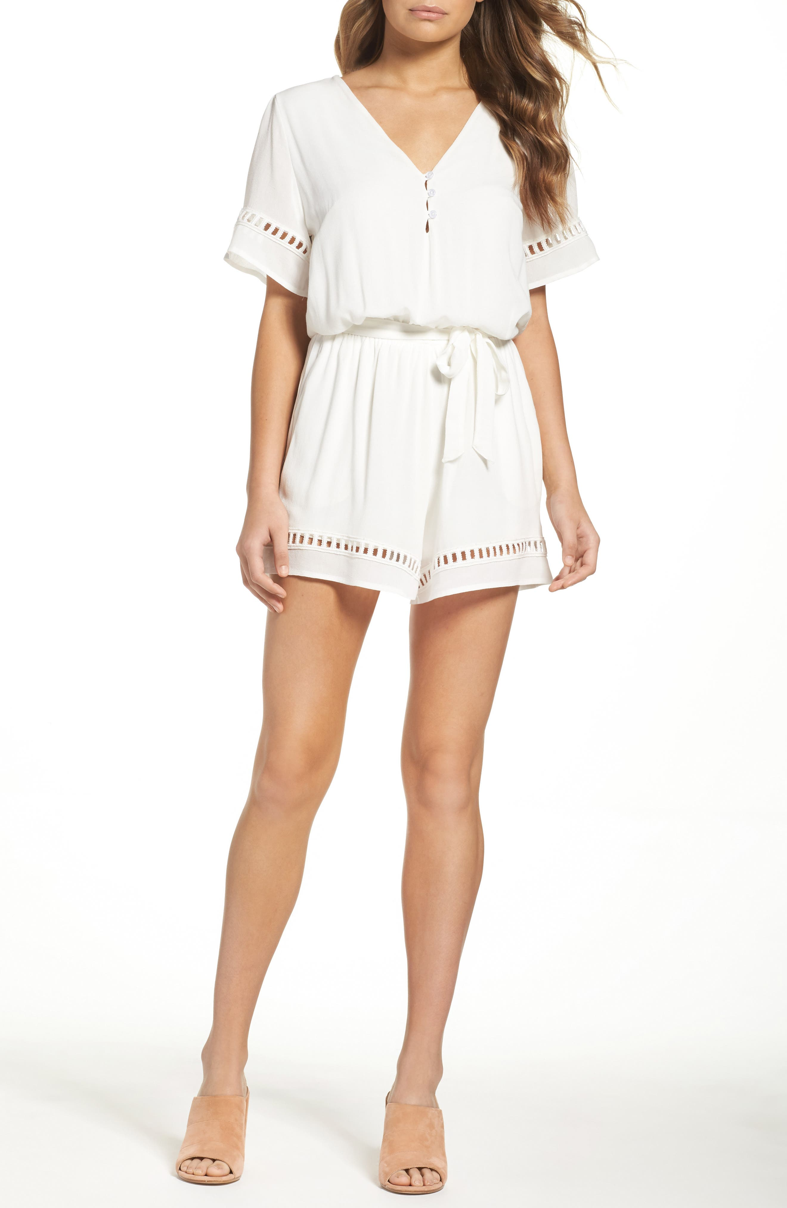 Alternate Image 1 Selected - Fraiche by J Lace Inset Romper