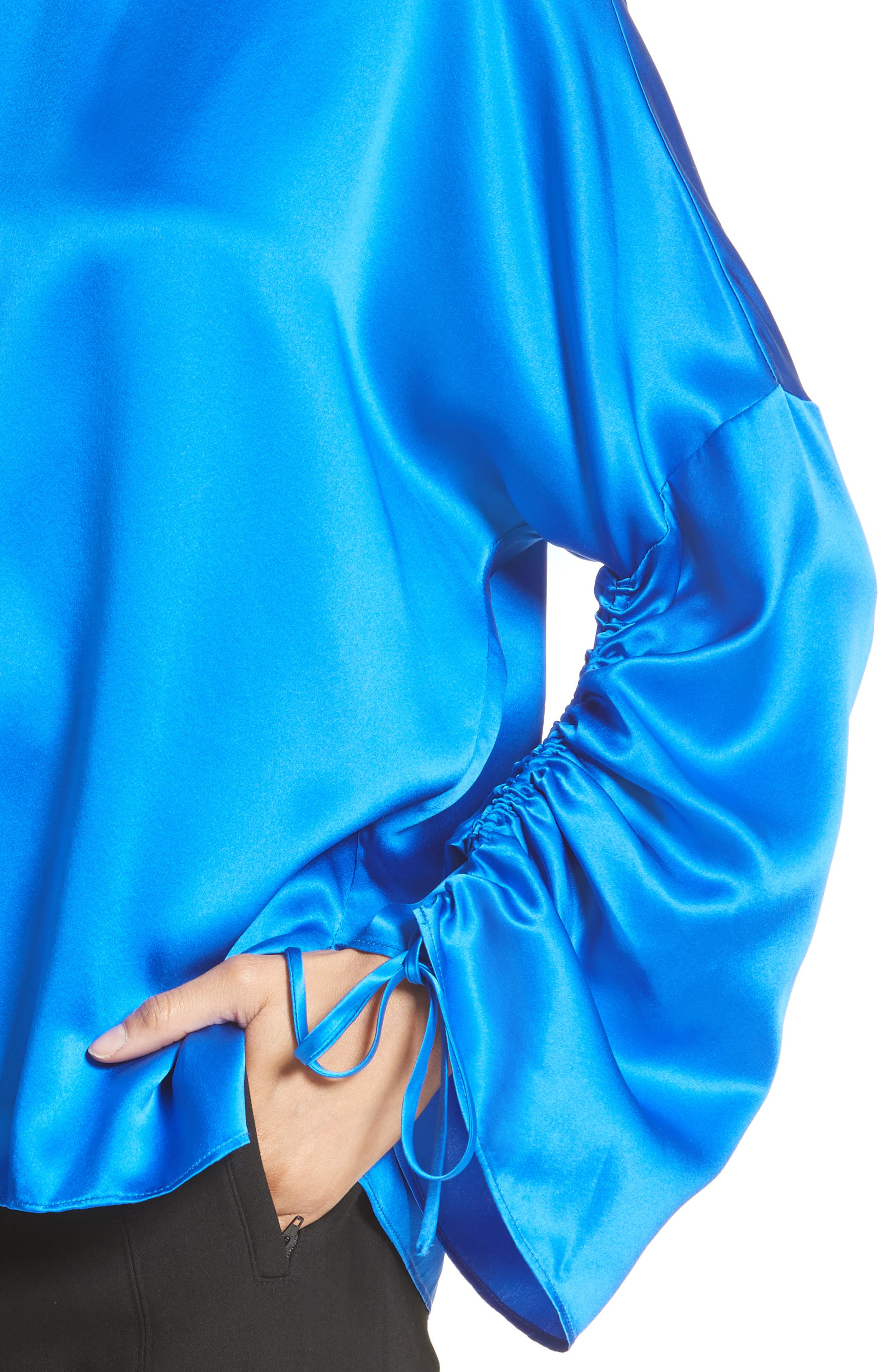 Ruched Sleeve Satin Silk Top,                             Alternate thumbnail 4, color,                             Brodea Blue