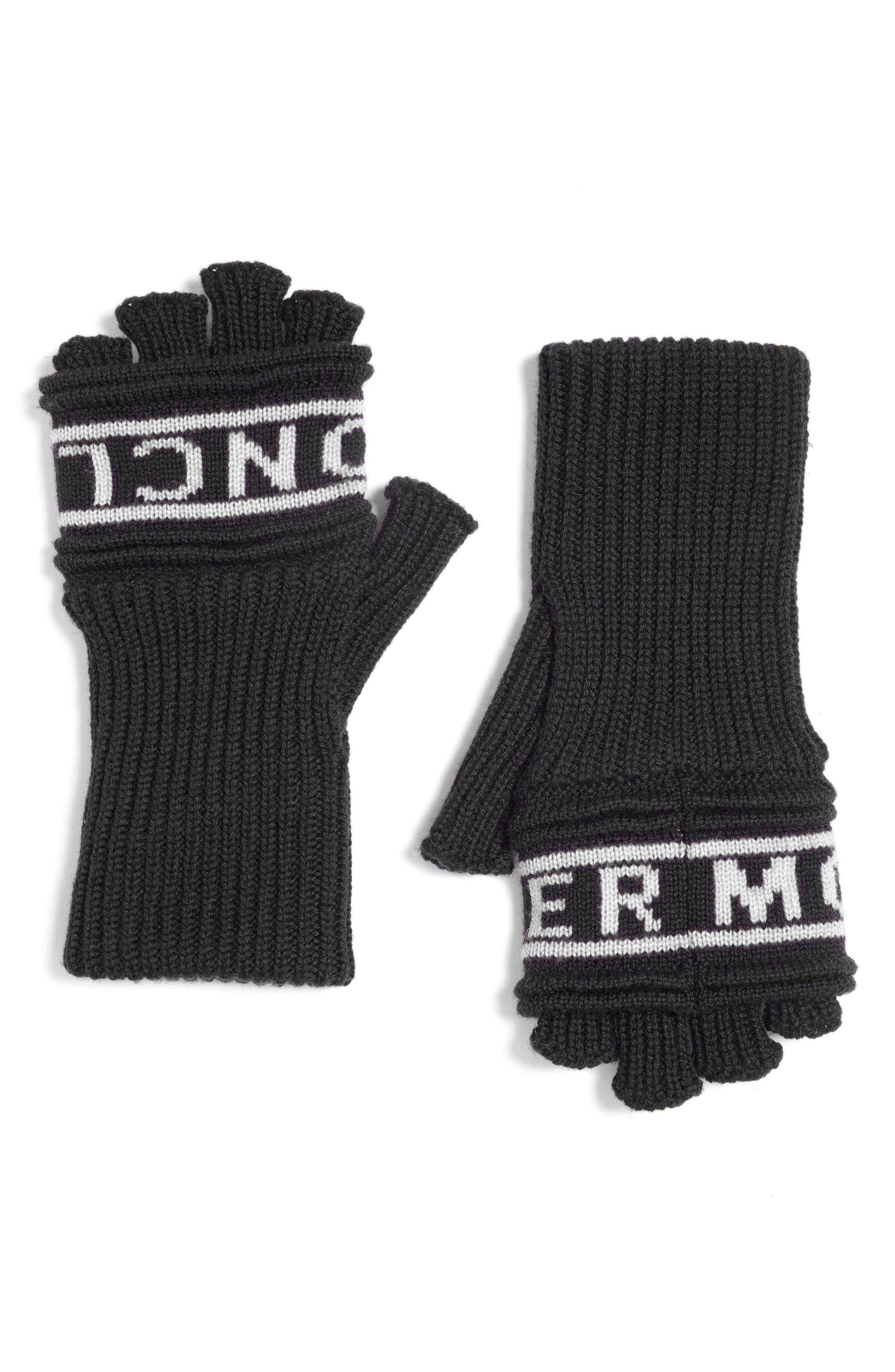 Guanti Wool Long Fingerless Gloves,                             Main thumbnail 1, color,                             Black