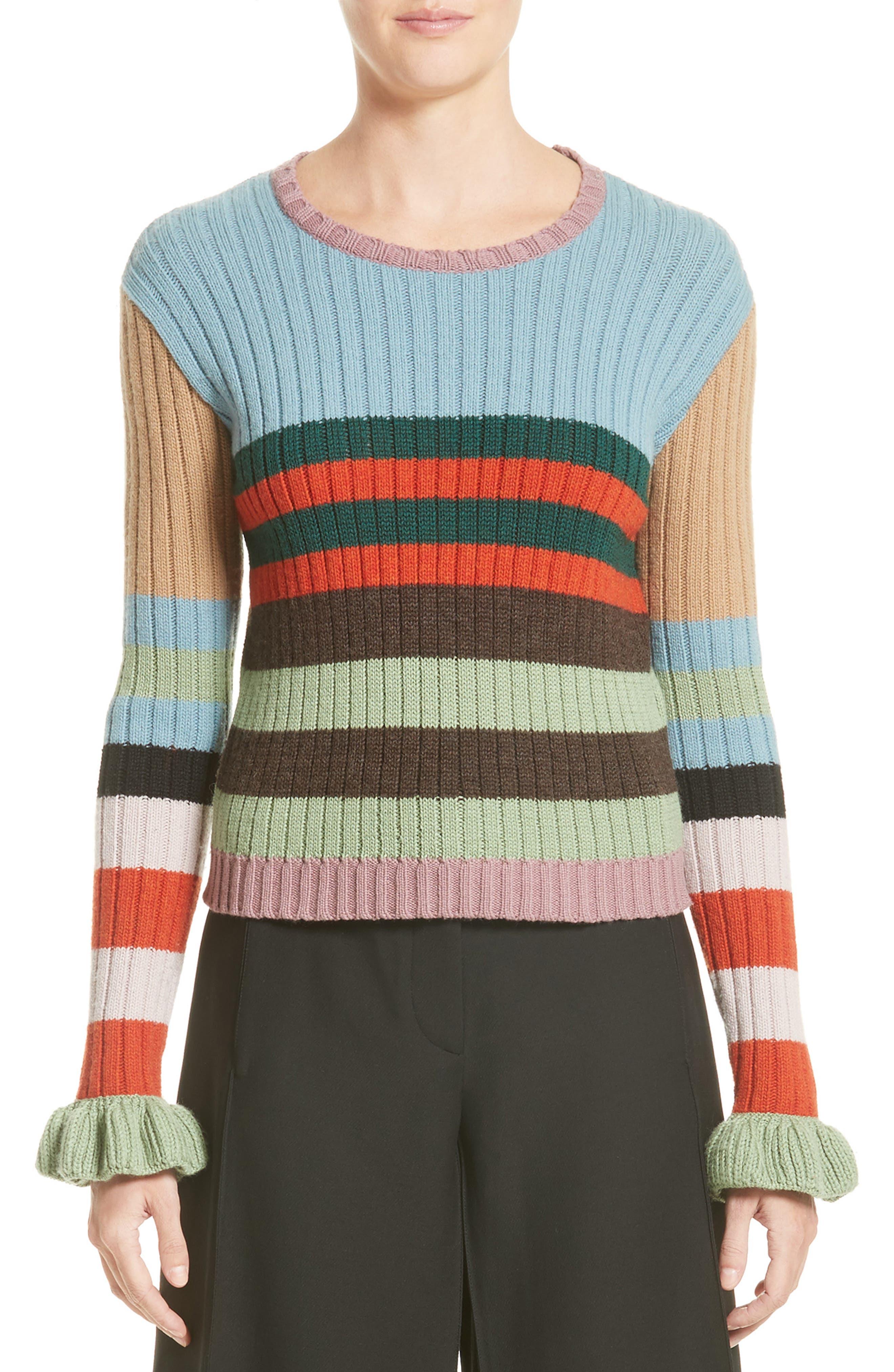 Main Image - Valentino Stripe Wool Sweater