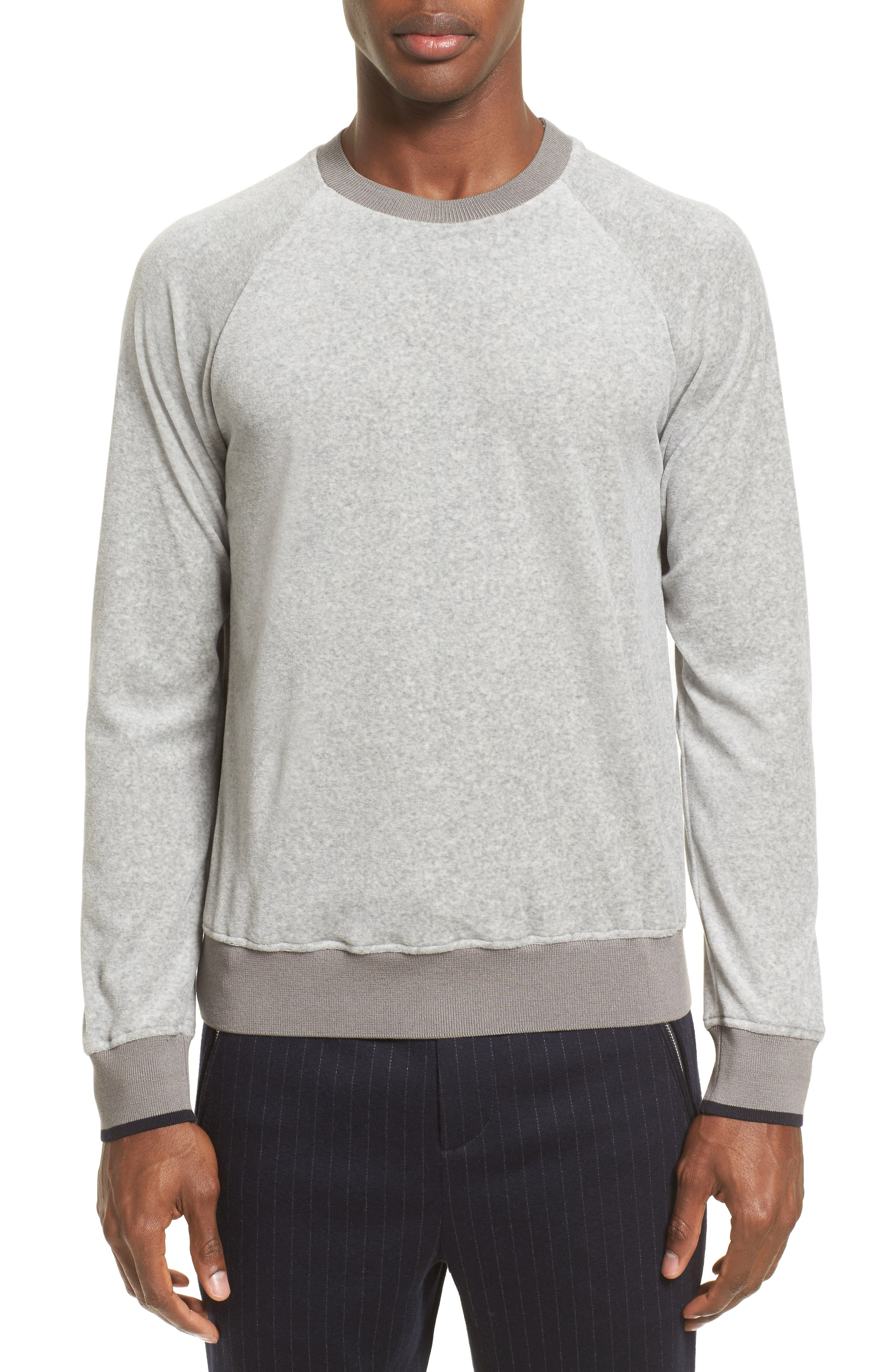 Velour Sweatshirt,                             Main thumbnail 1, color,                             Light Grey