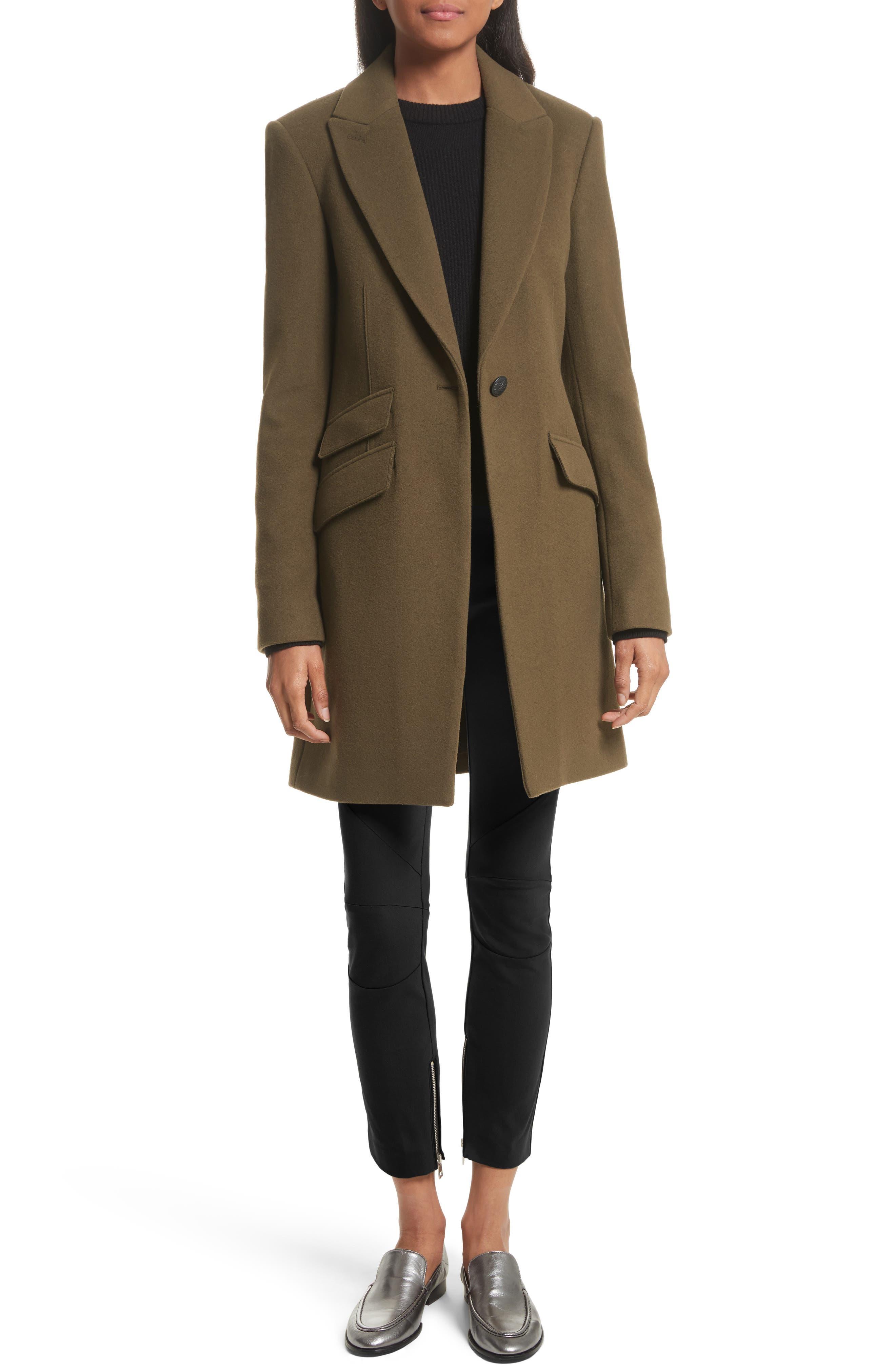 Duchess Wool Blend Coat,                             Alternate thumbnail 2, color,                             Olive
