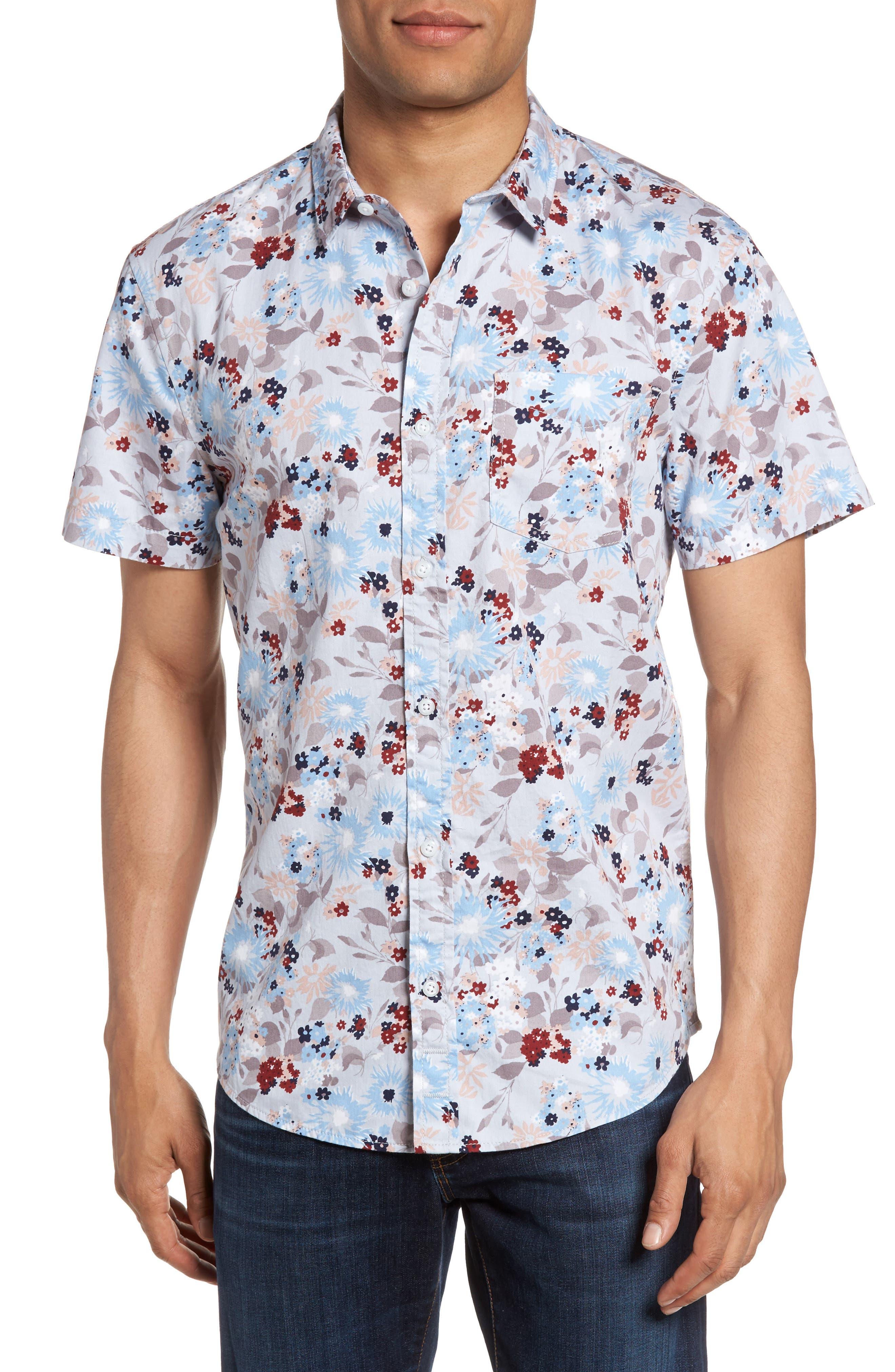 Floral Print Shirt,                         Main,                         color, Grey Lunar Oversize Floral